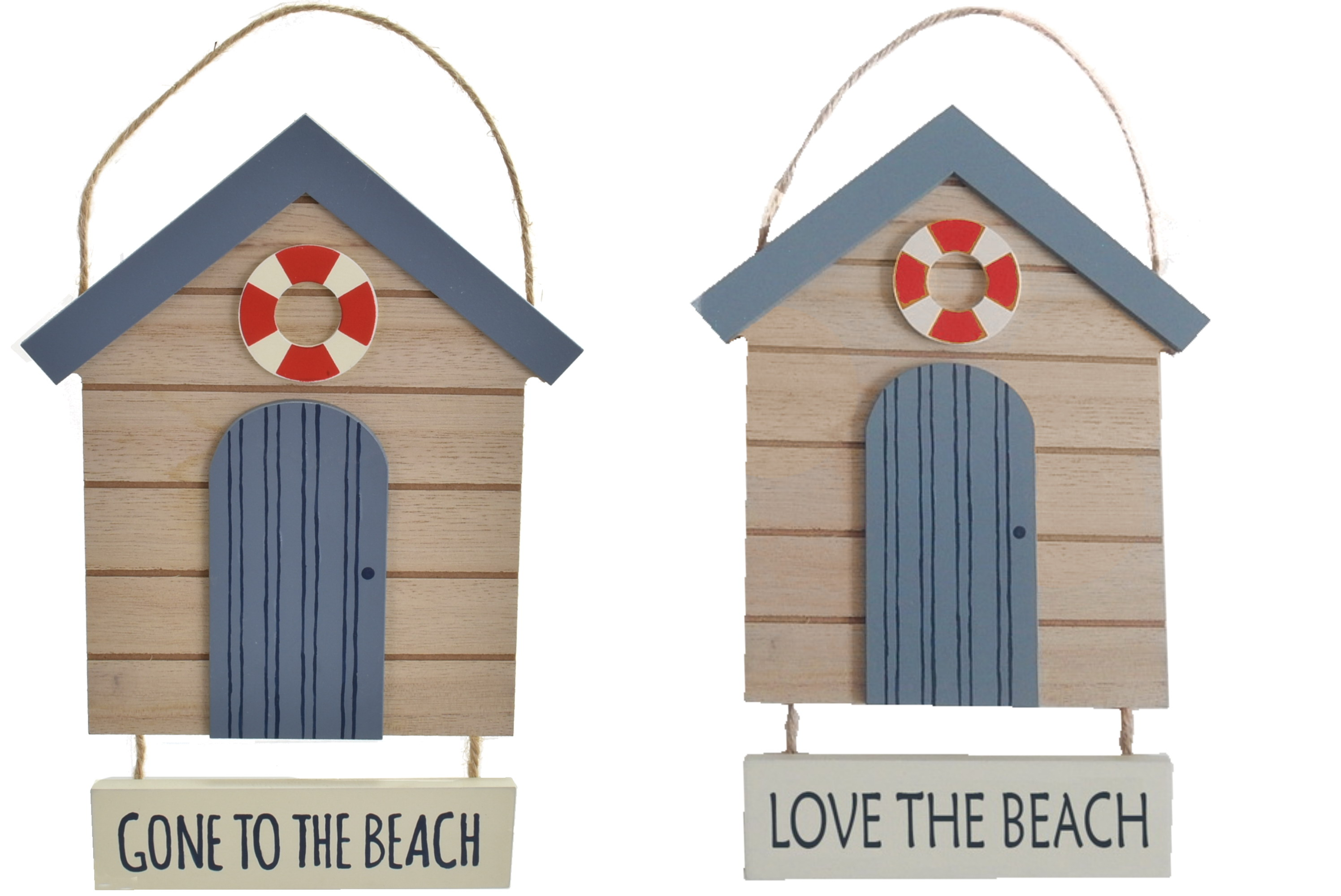 24x15cm Hanging Beach Hut Sign 2 Assorted
