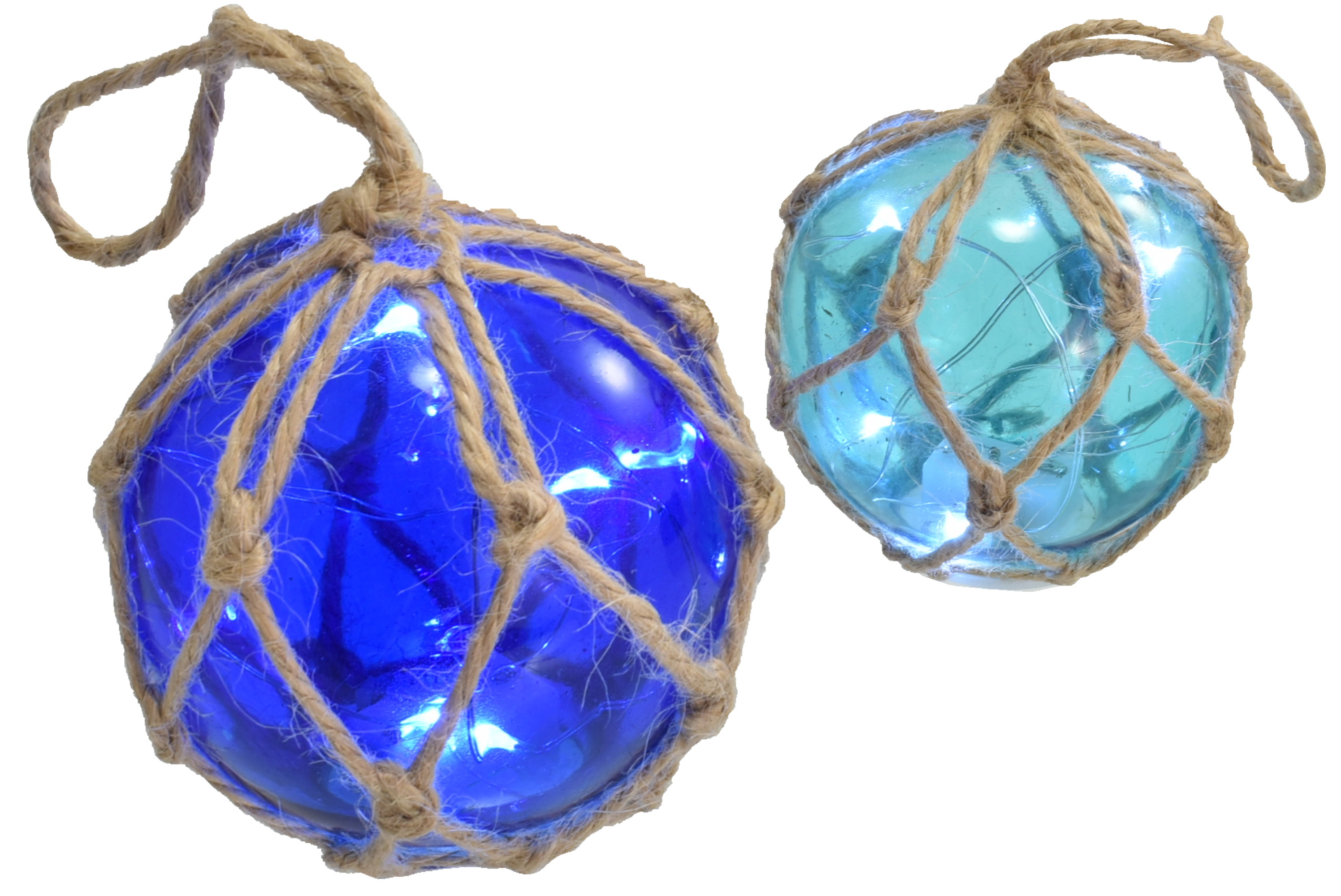 "3"" Glass Globe W/ Led Lights & Rope Netting 2 Assorted"