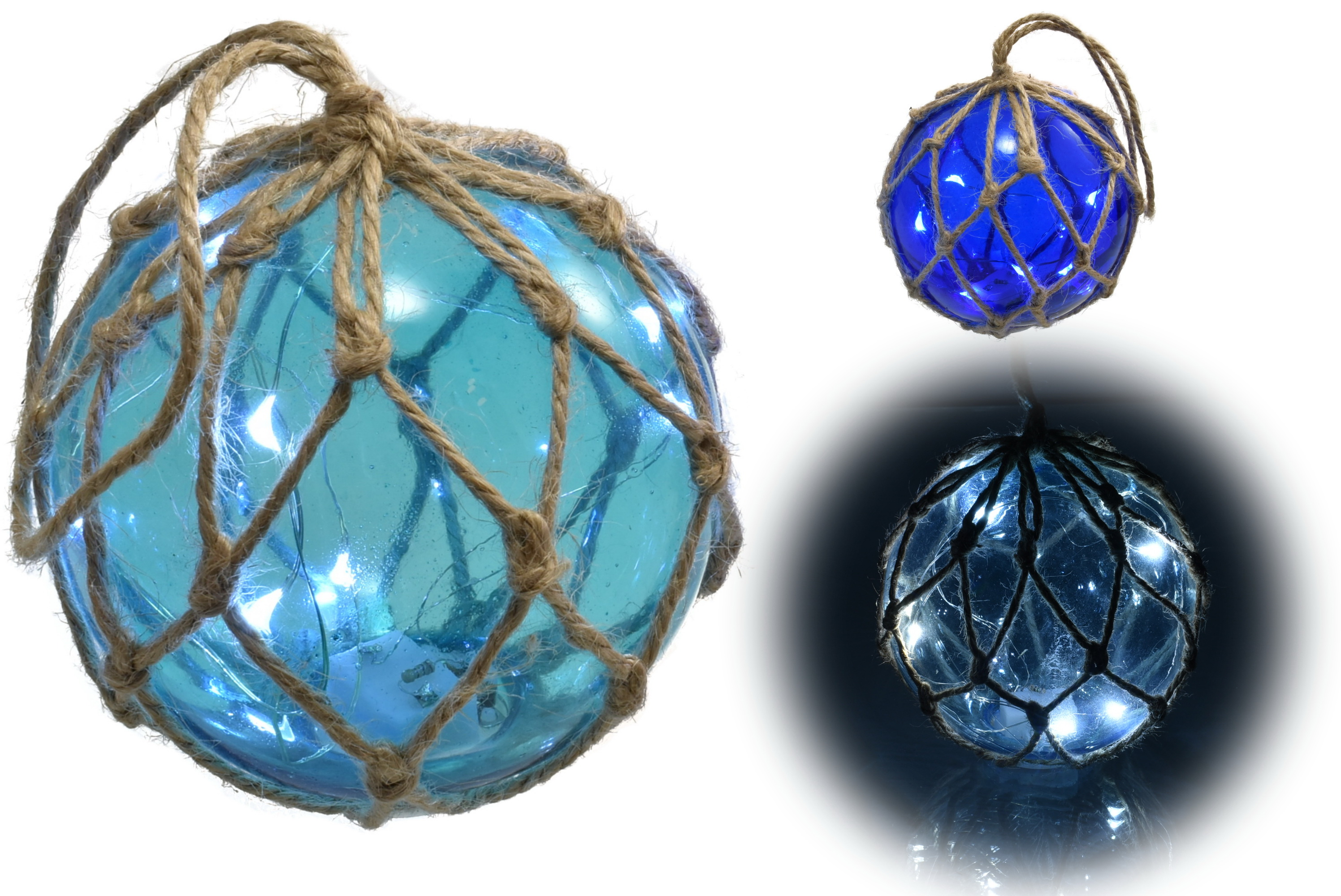 "4"" Glass Globe W/ Led Lights & Rope Netting 2 Assorted"