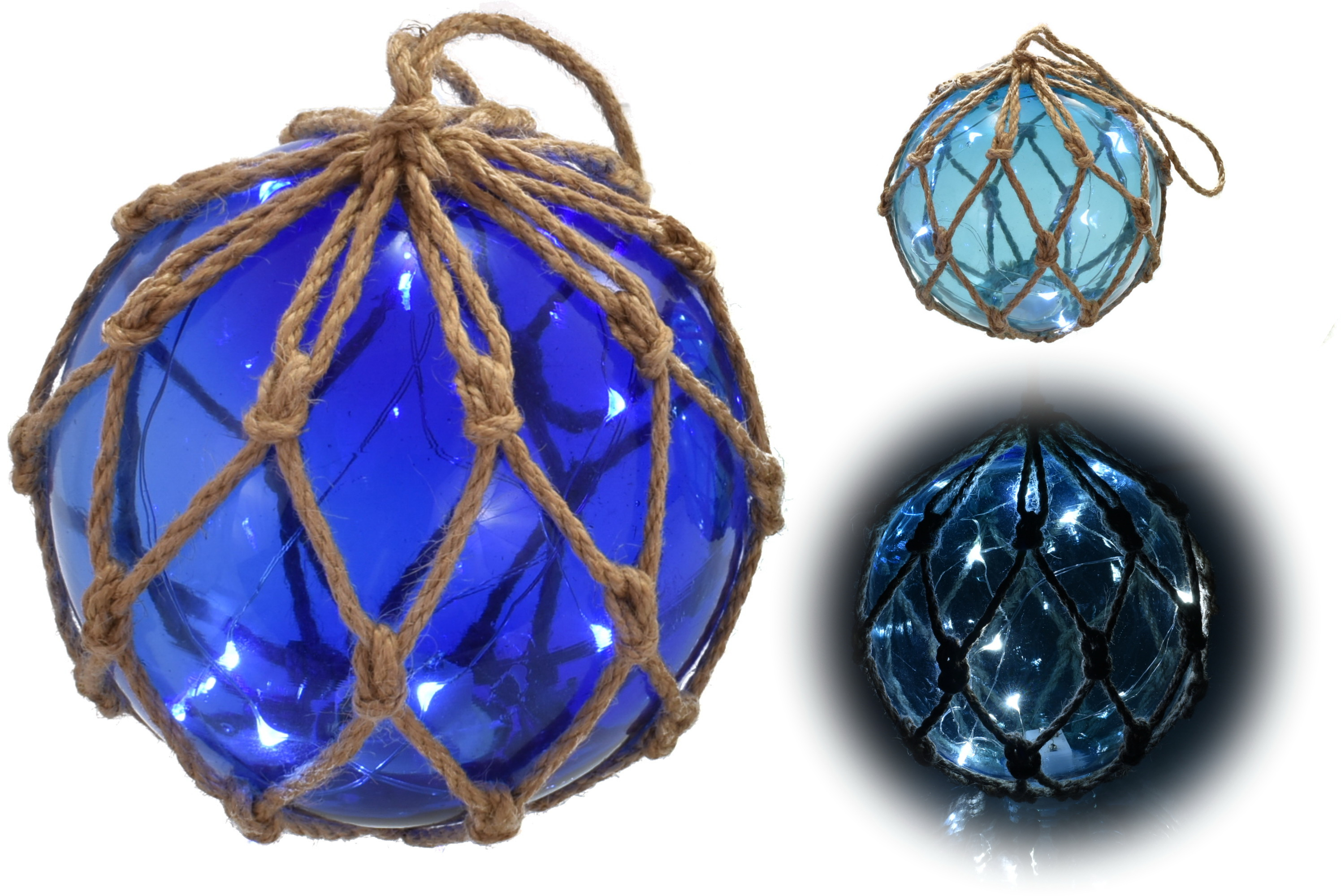 "5"" Glass Globe W/ Led Lights & Rope Netting 2 Assorted"