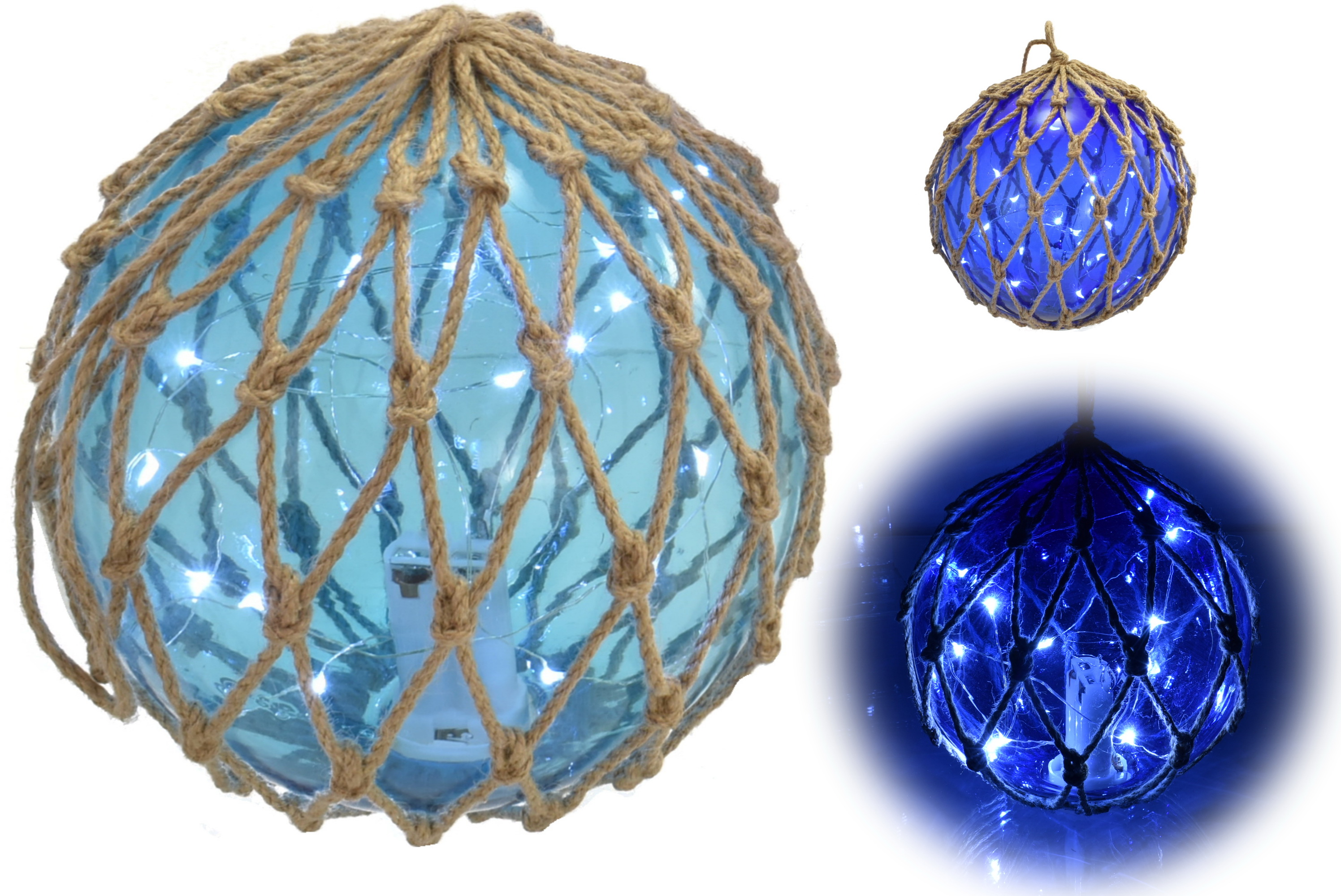 "6"" Glass Globe W/ Led Lights & Rope Netting 2 Assorted"