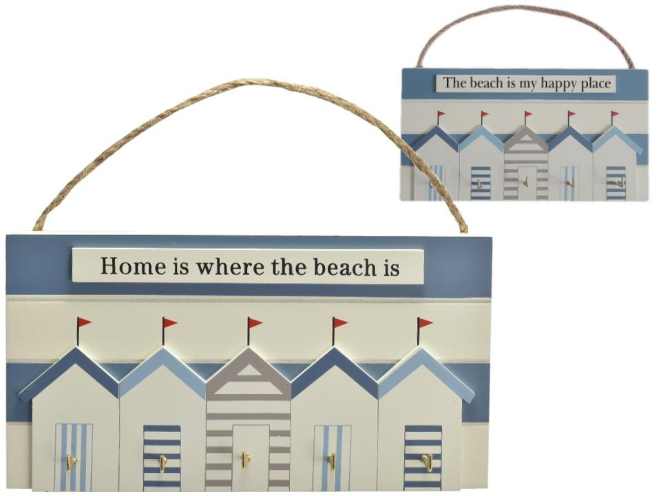 23x12cm Wooden Beach Hut Key Rack 2 Assorted Designs