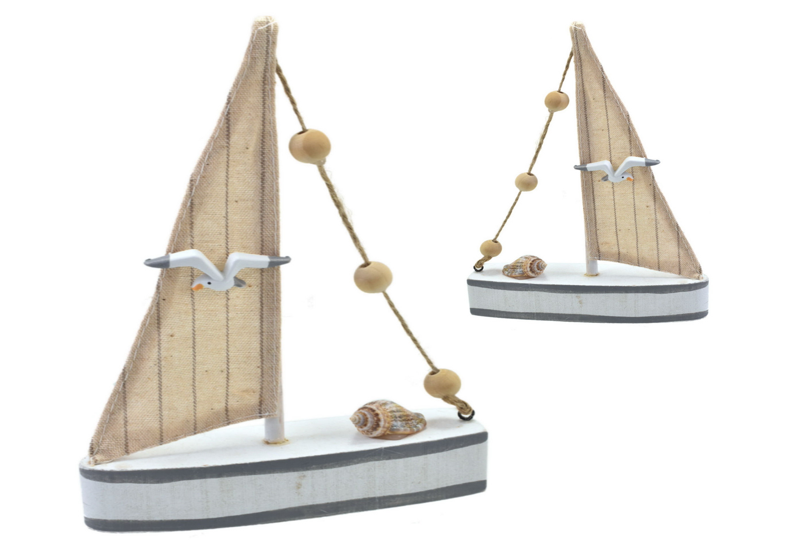 12x17cm Wooden Boat With Fabric Sail