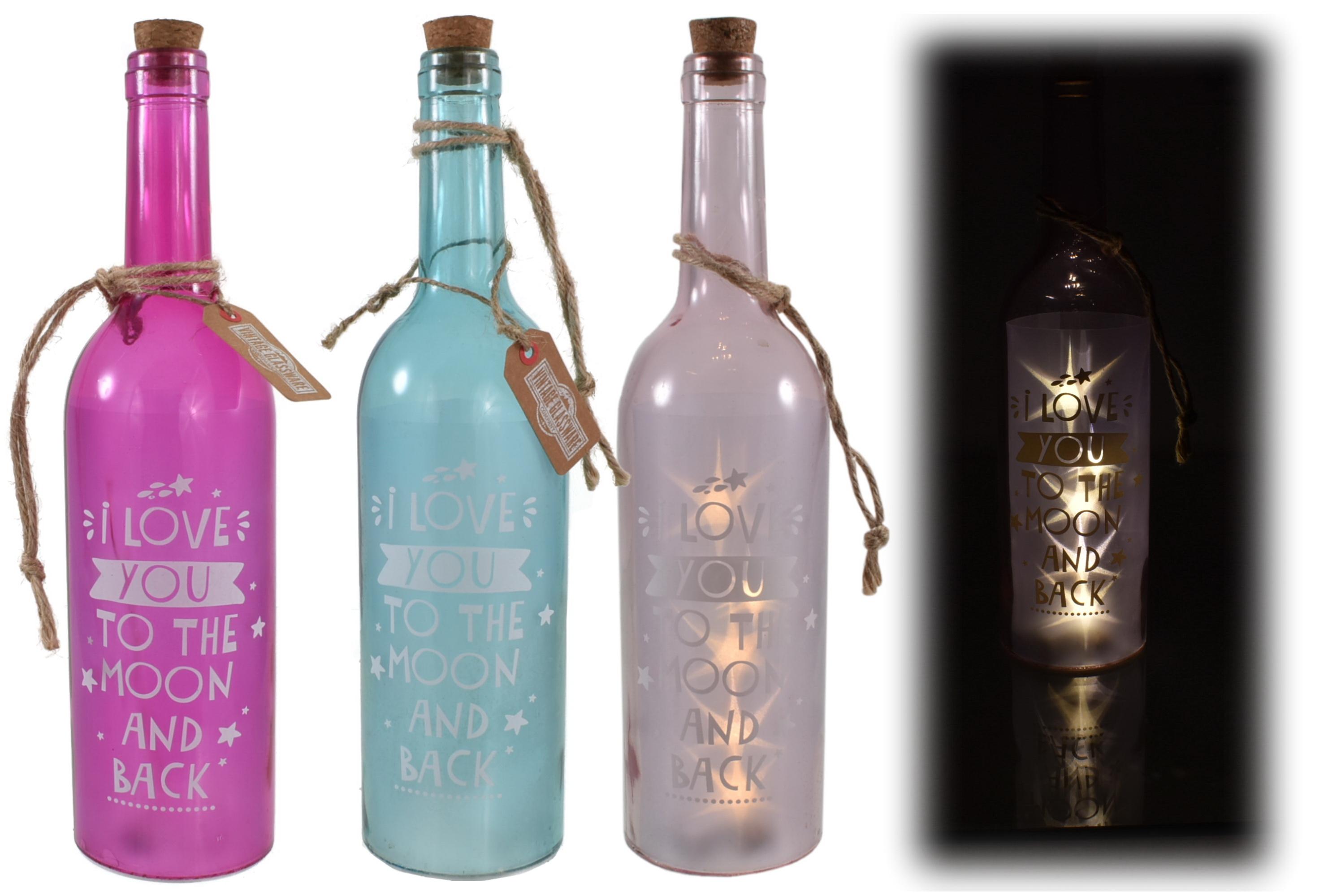 Led Glass Wine Bottle 3 Asst Cols 'Love Moon & Back'