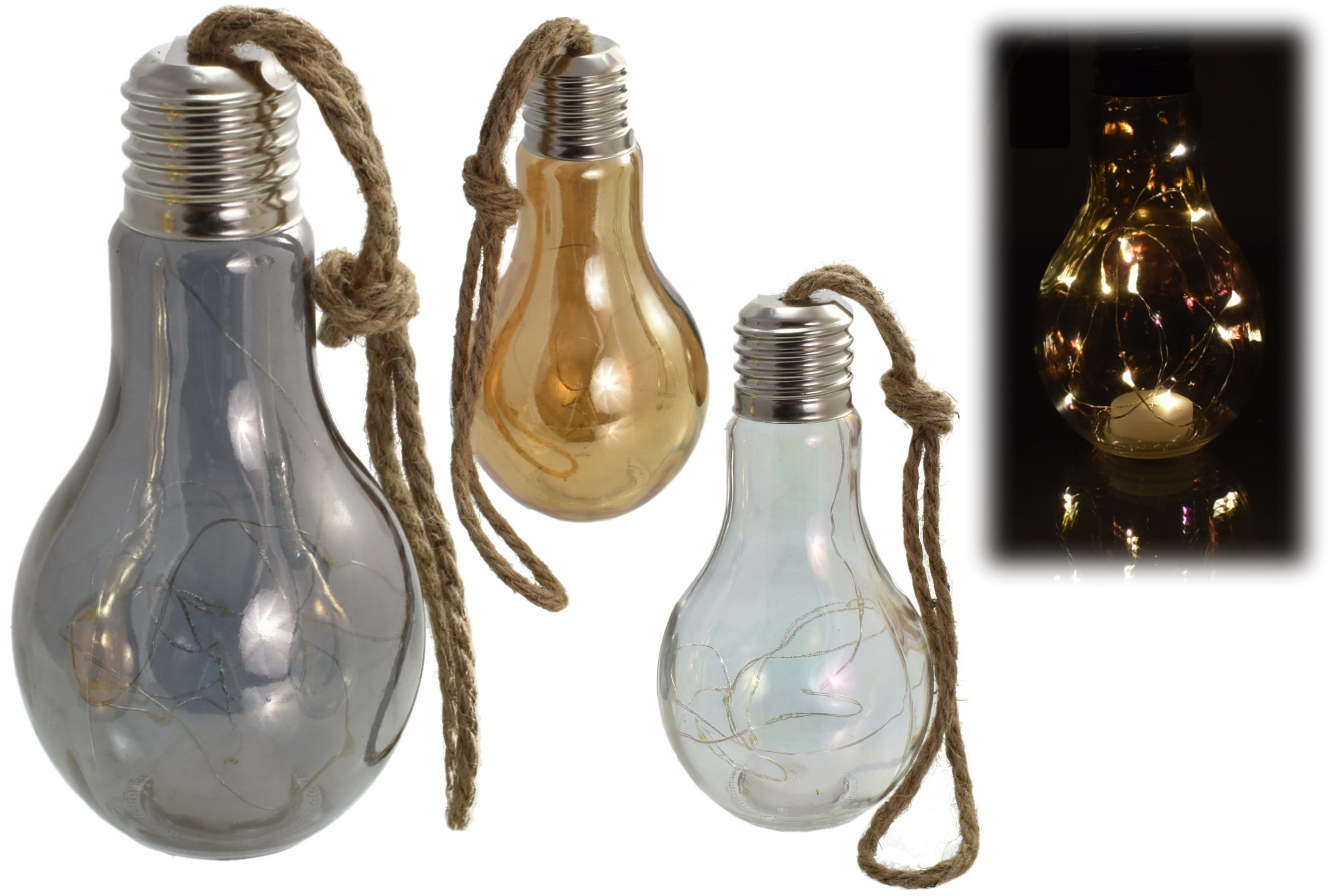 18cm Lightbulb With Led Lights And String 3 Asst Cols