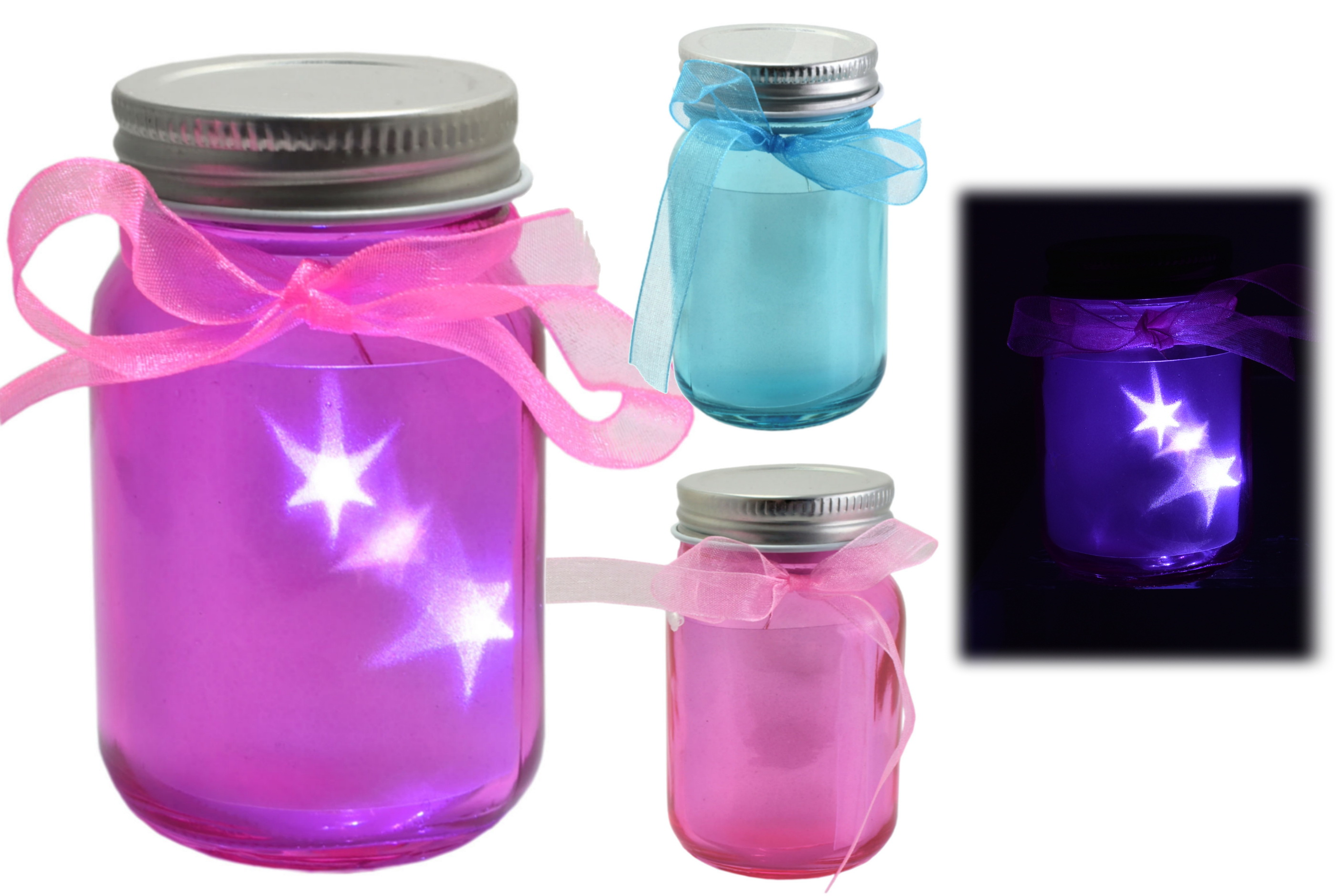 8x6cm Small Led Light Up Jar 3 Assorted Colours