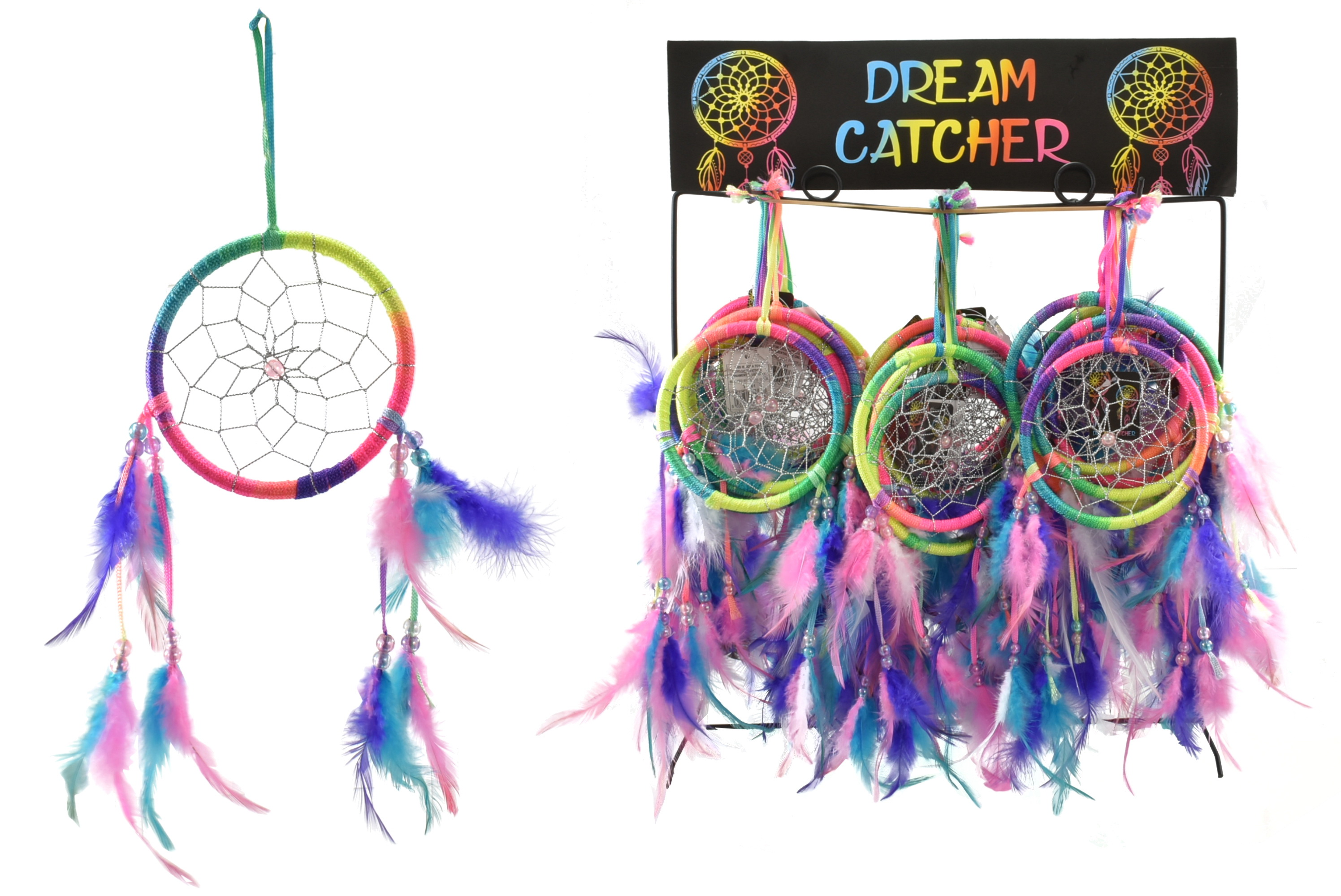 4 Inch Neon Dream Catcher On Display Stand