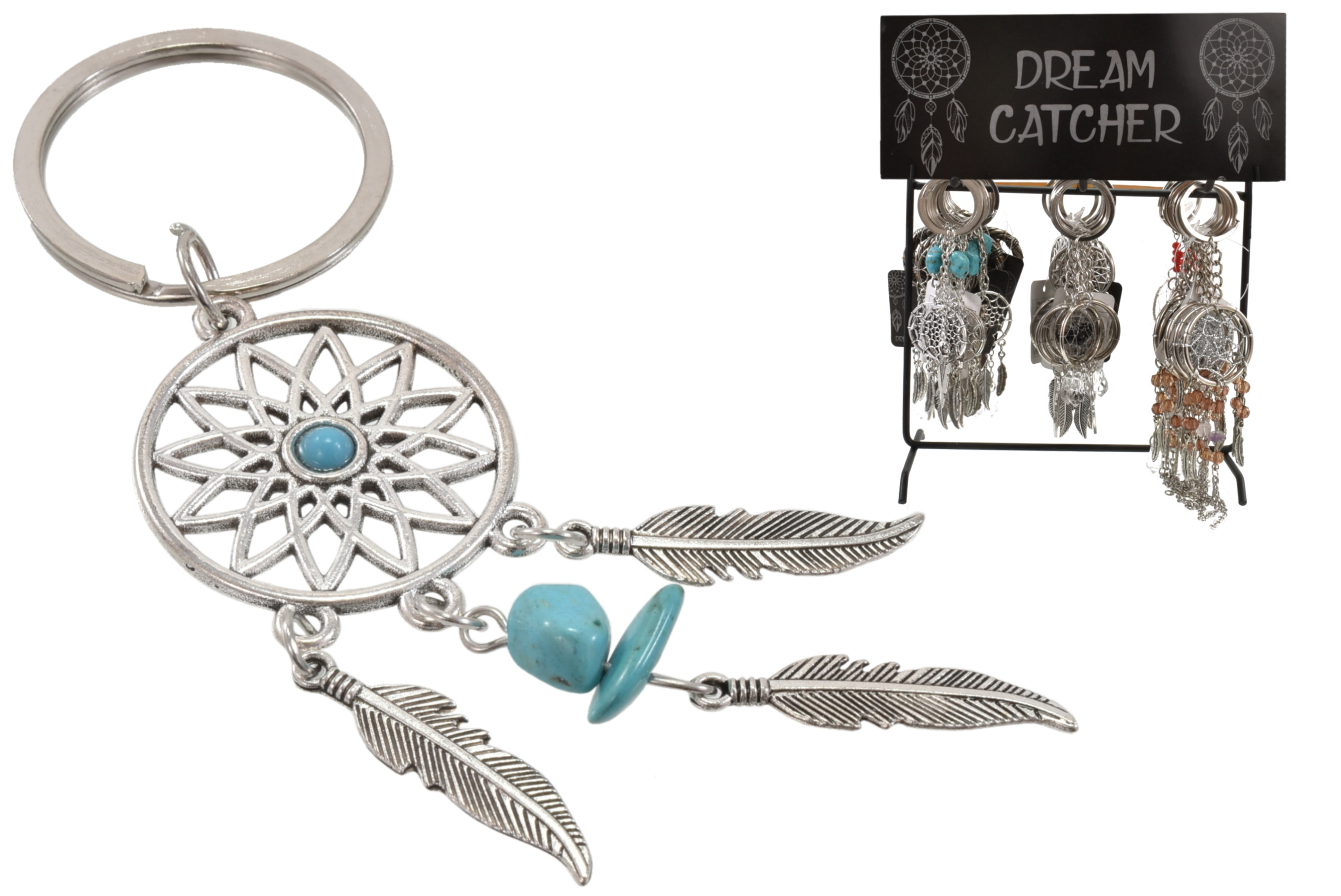 1.5 Inch Dream Catcher Keyrings 6 Assorted On Display
