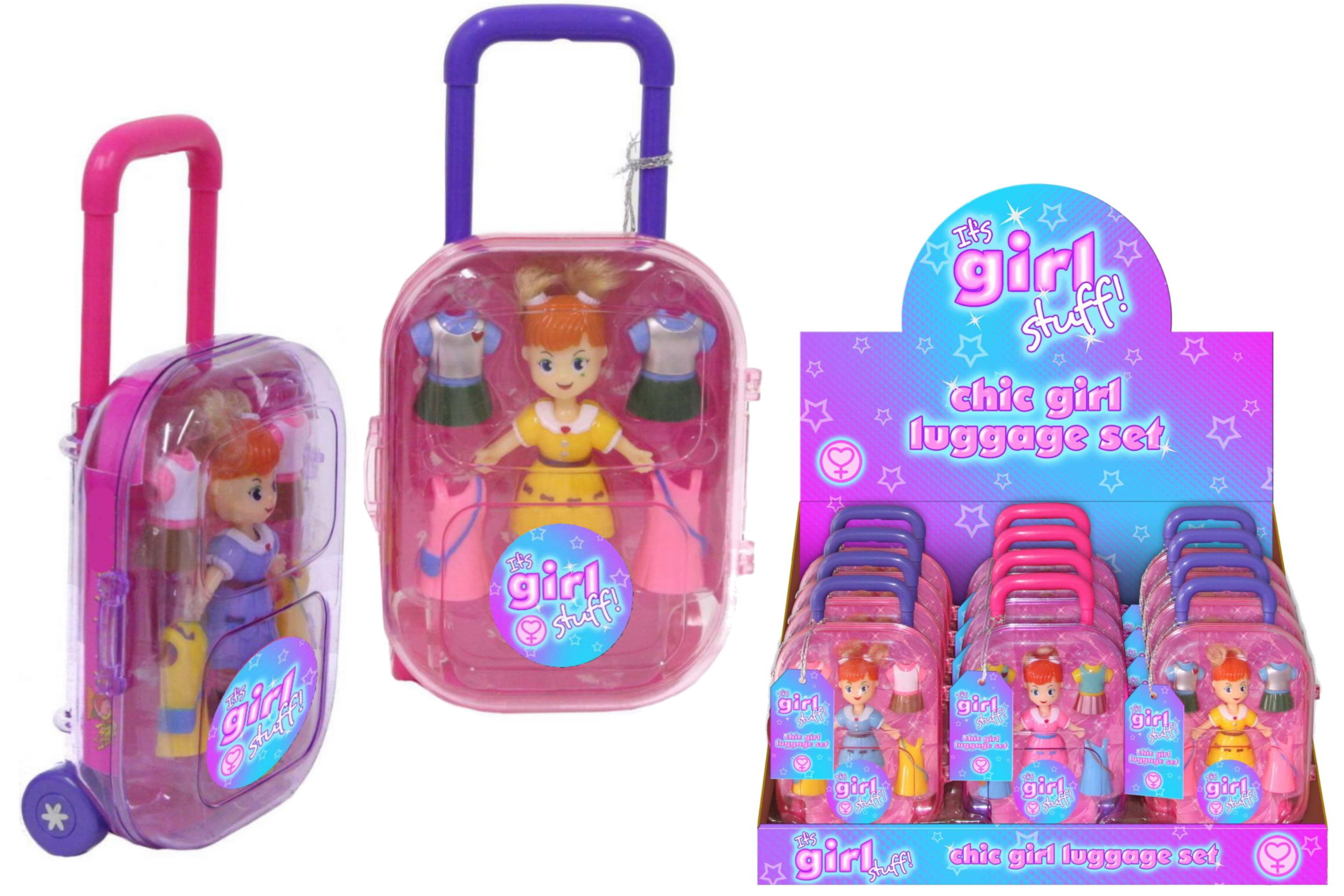 "Chic Girl Luggage Set - Display Box - ""Its Girl Stuff"""
