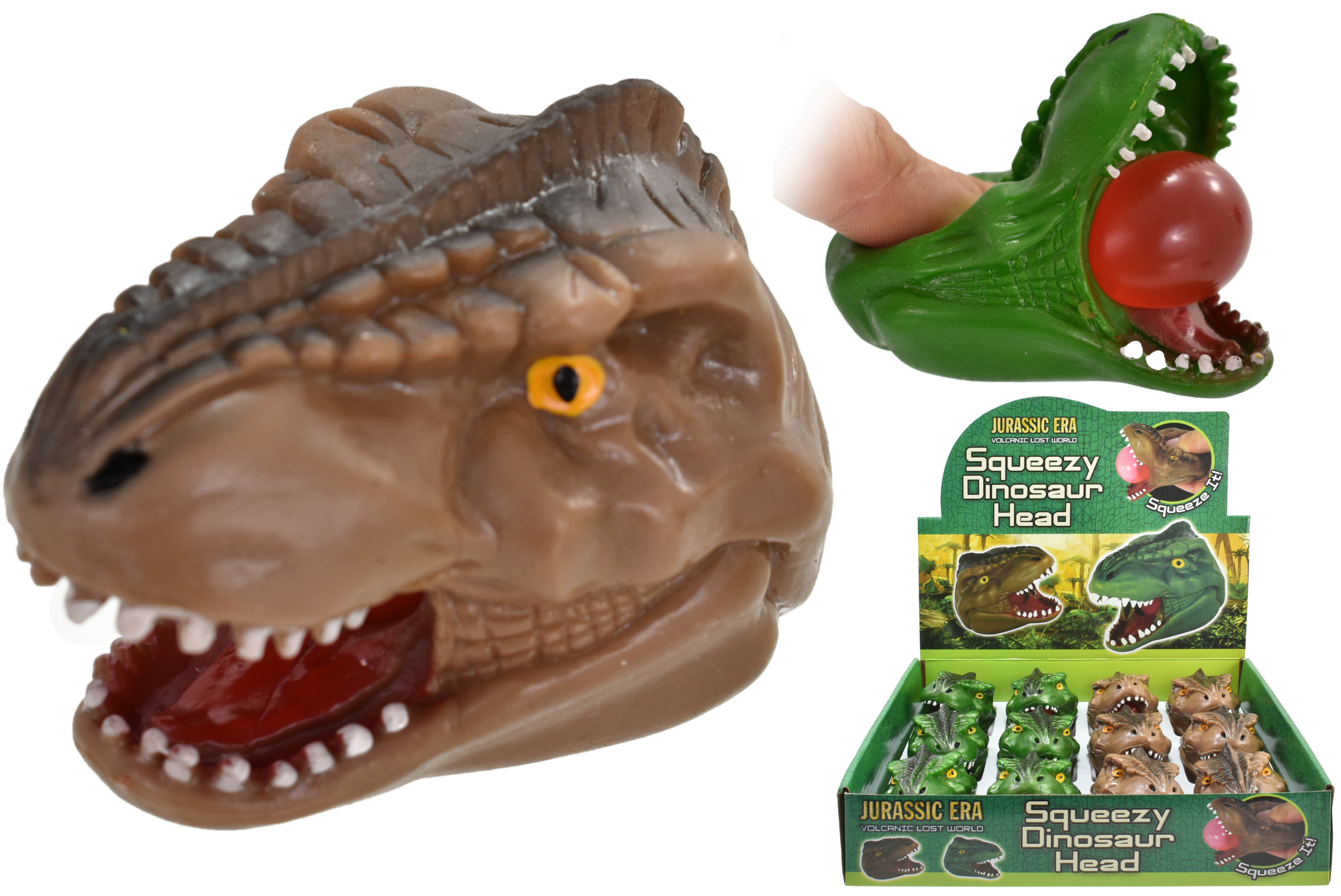 Squeeze Dinosaur Head In Display Box