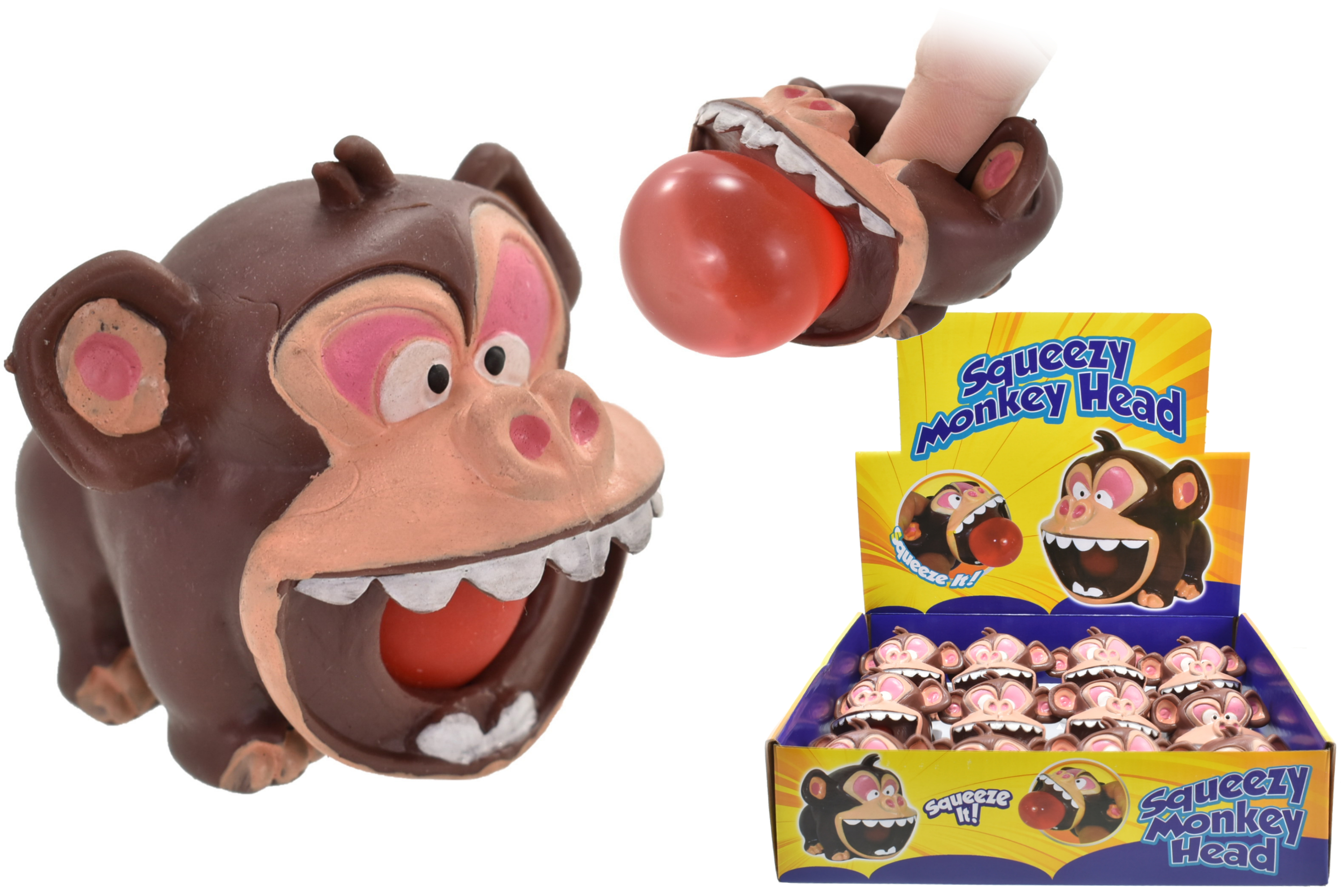 Squeeze Monkey Head In Display Box