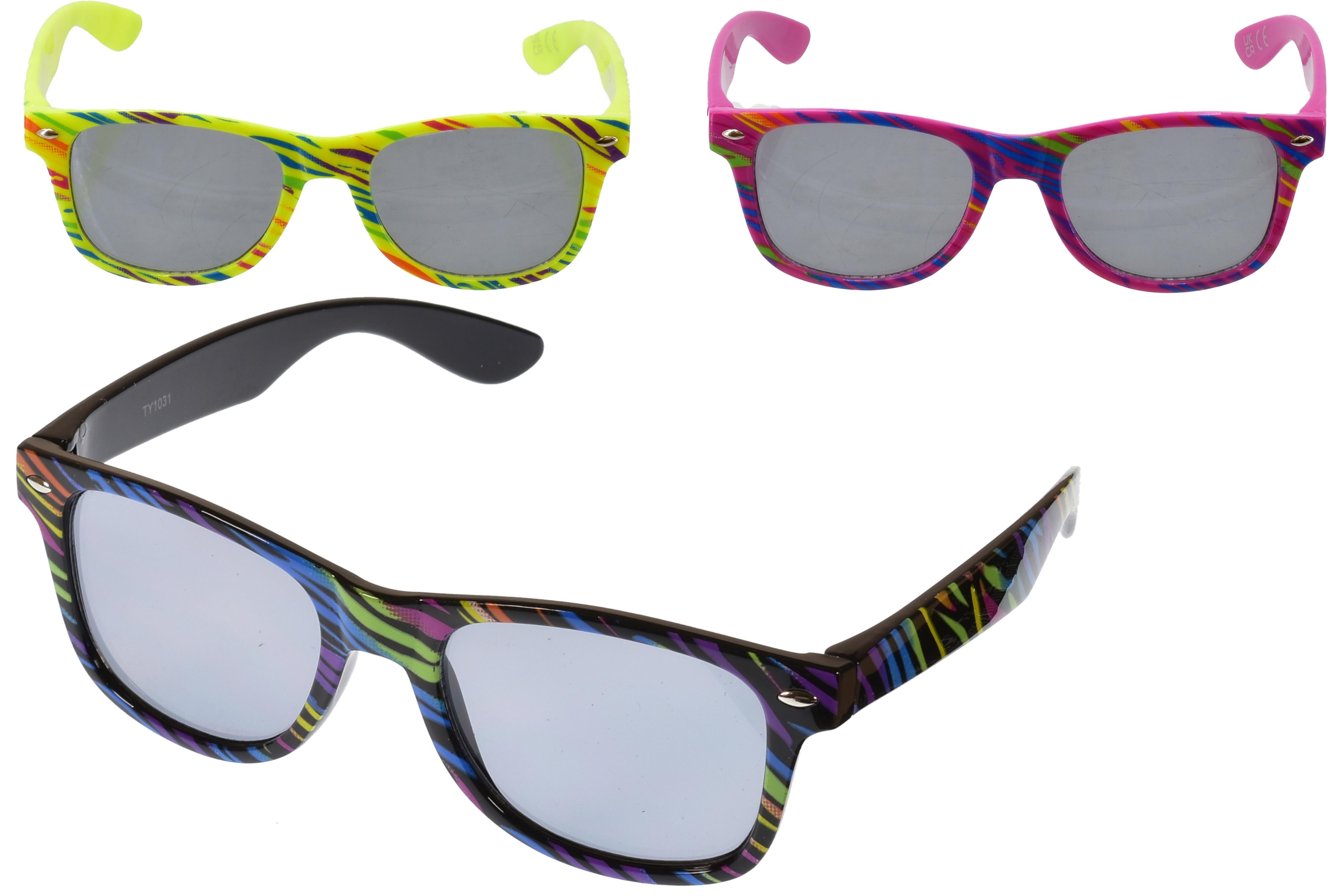Kids Plastic Printed Frame Wayfarer Sunglasses (3 Asst)