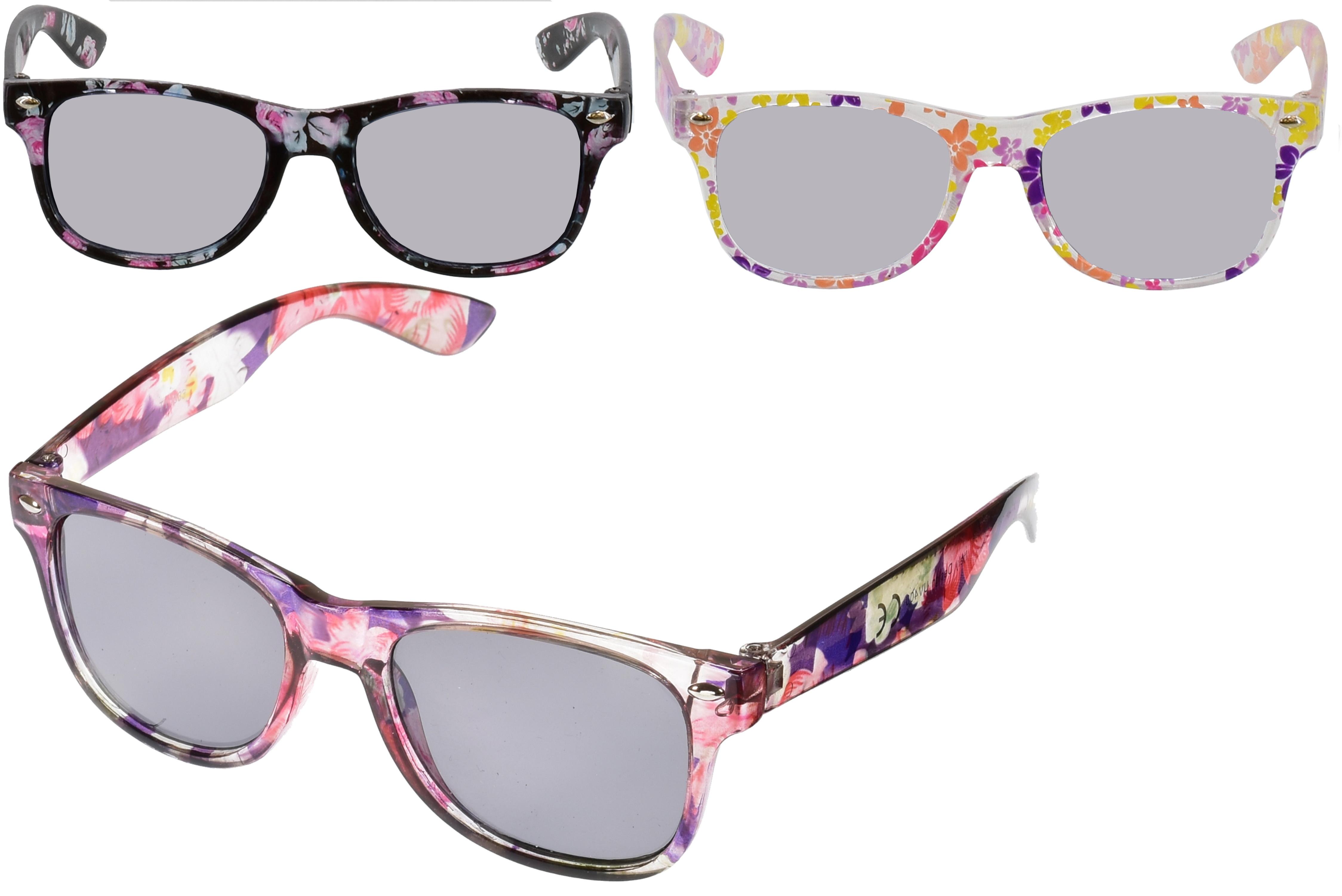 Girls Transparent Printed Wayfarer Sunglasses (3 Asst)