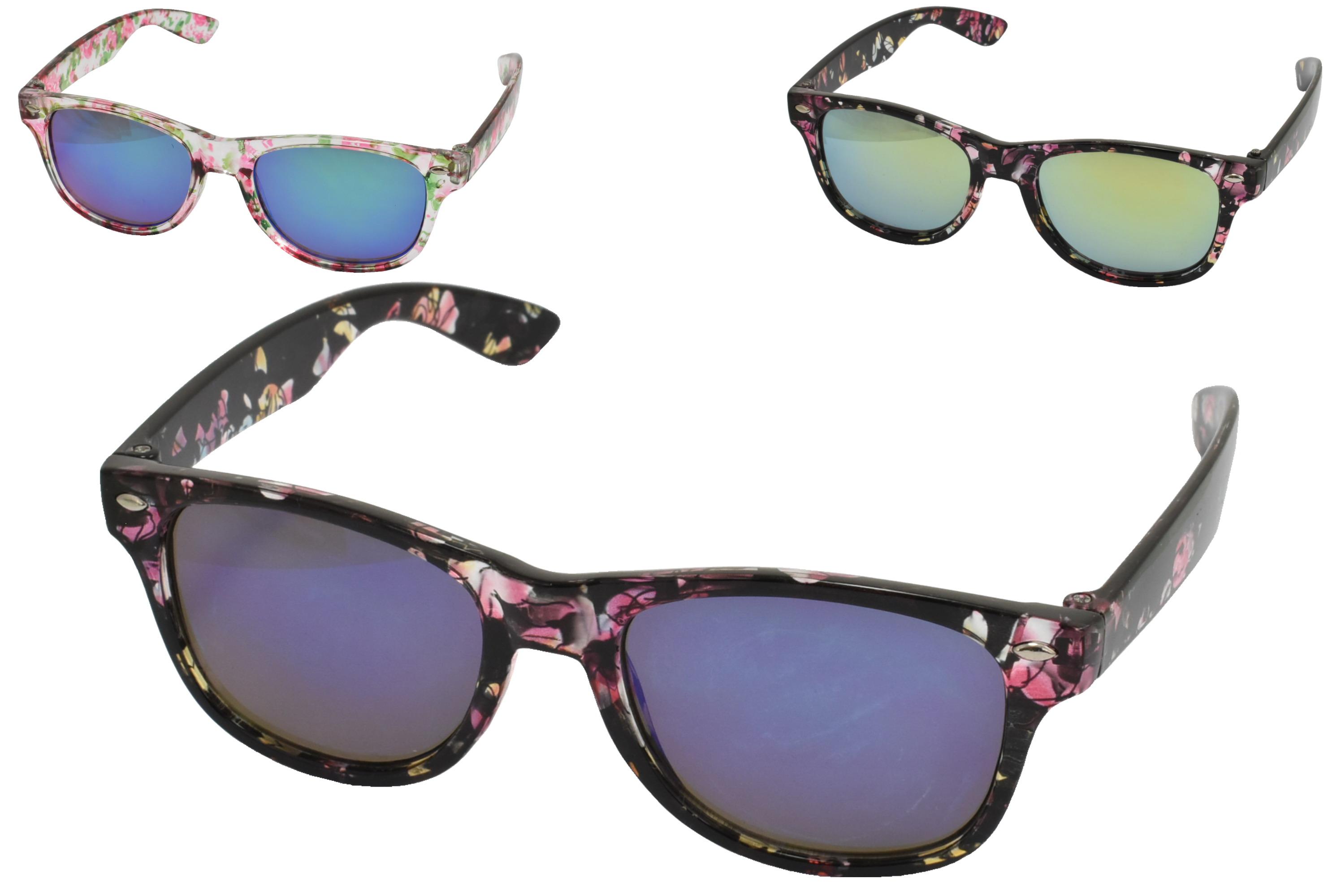 Girls Printed Frame Wayfarer Sunglasses (3 Asst)