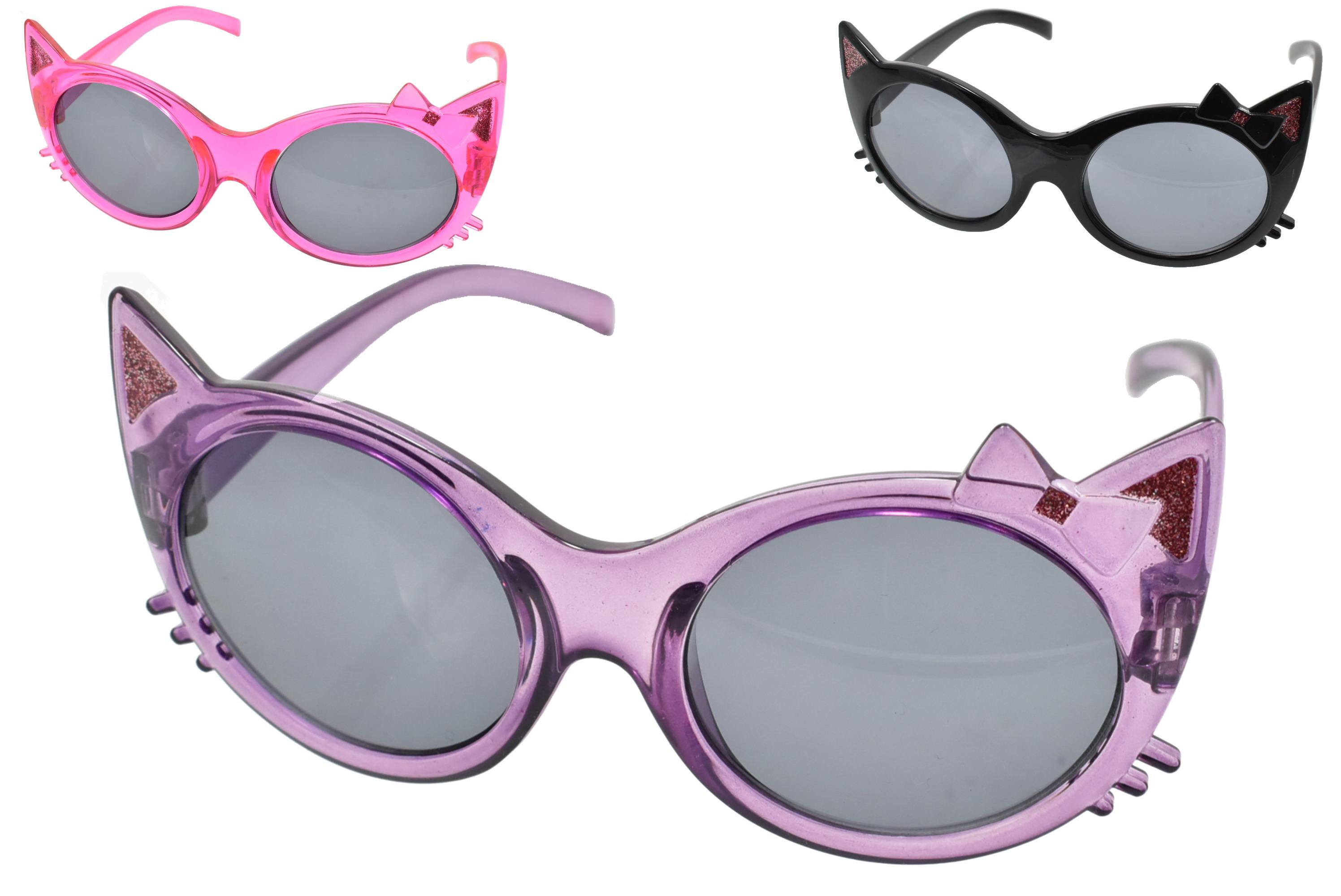 Girls Cat Shape Plastic Sunglasses (3 Asst)