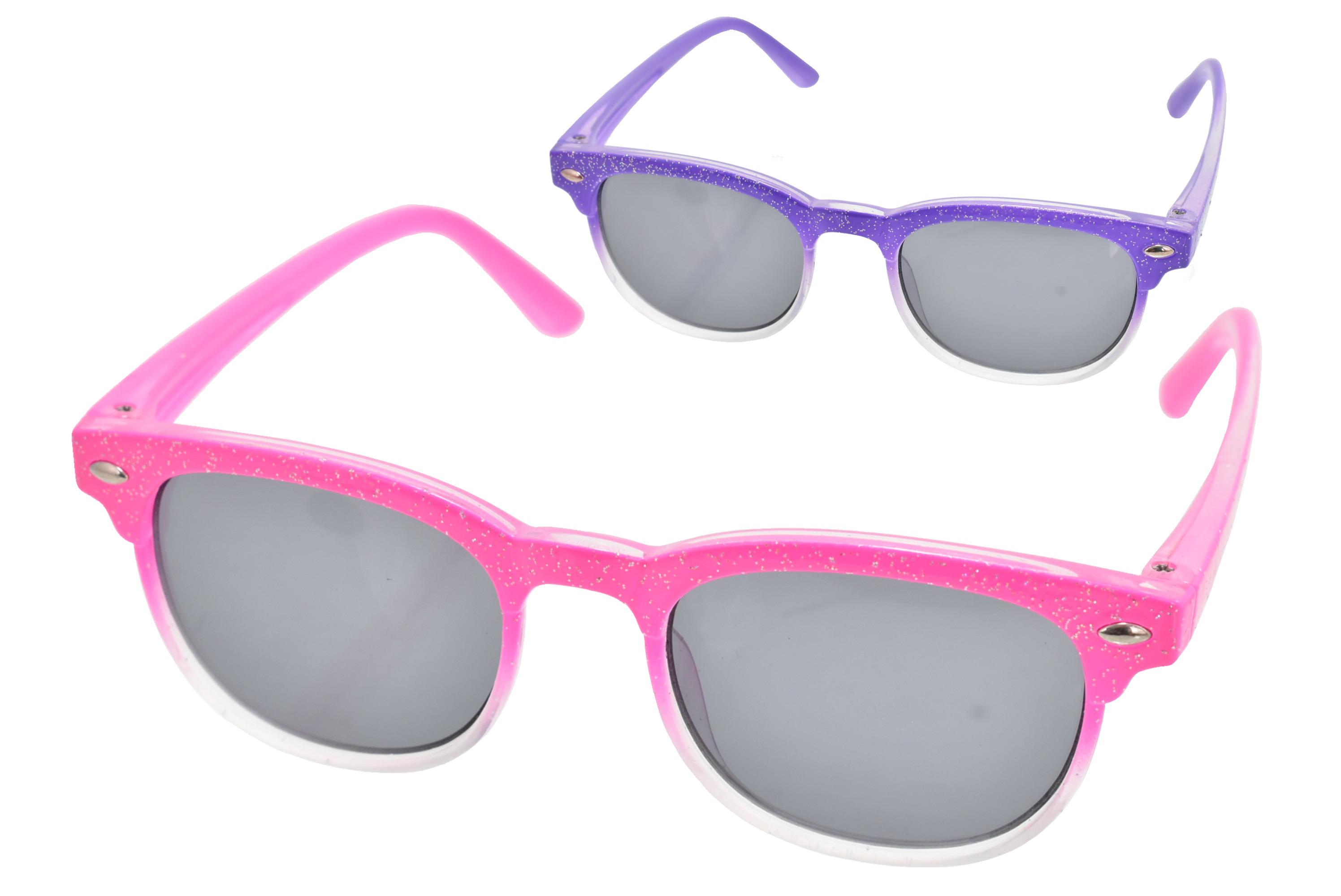 Girls Glitter Frame Wayfarer Sunglasses (2 Asst)