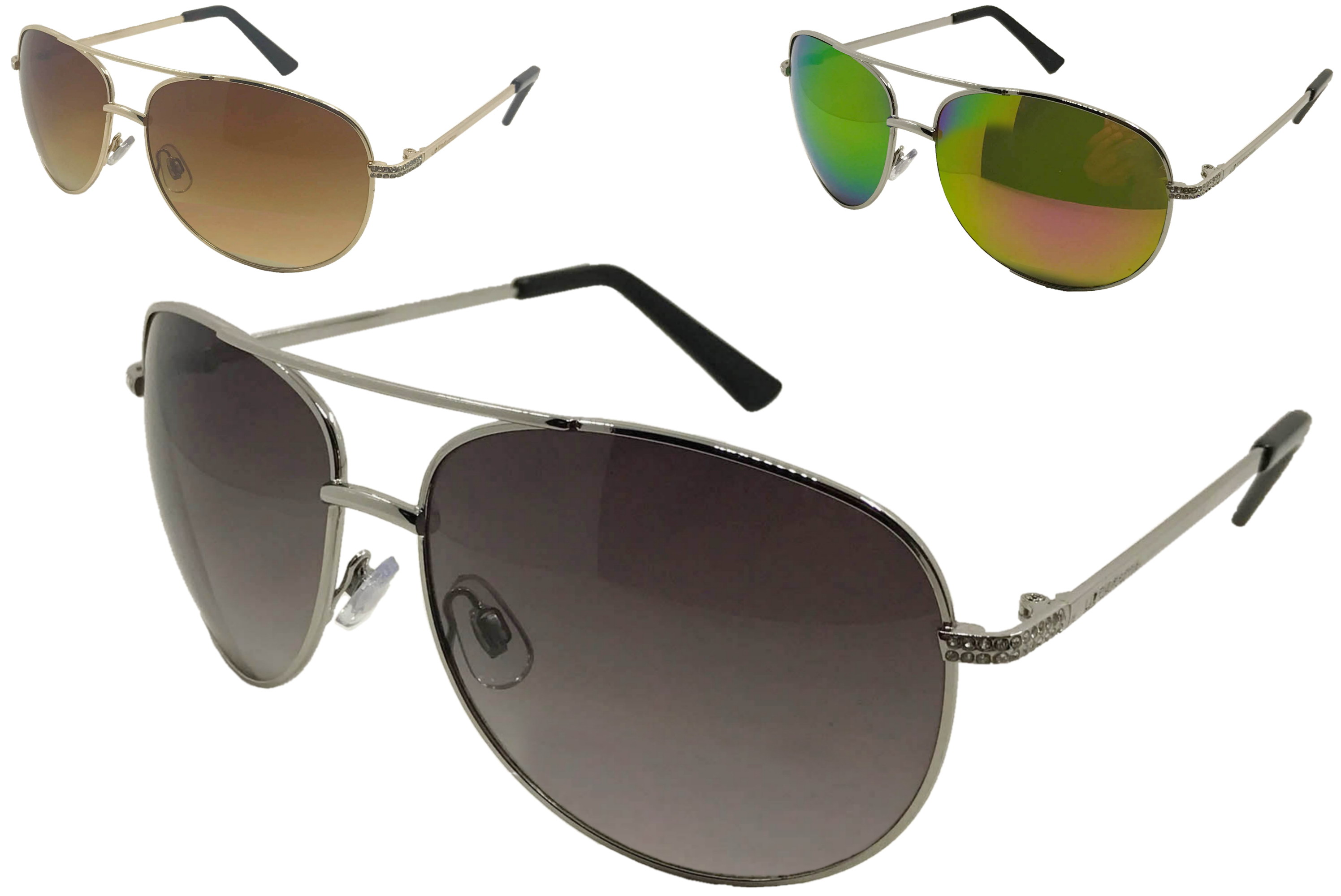 Ladies Metal Frame Large Lense Sunglasses (3 Assorted)