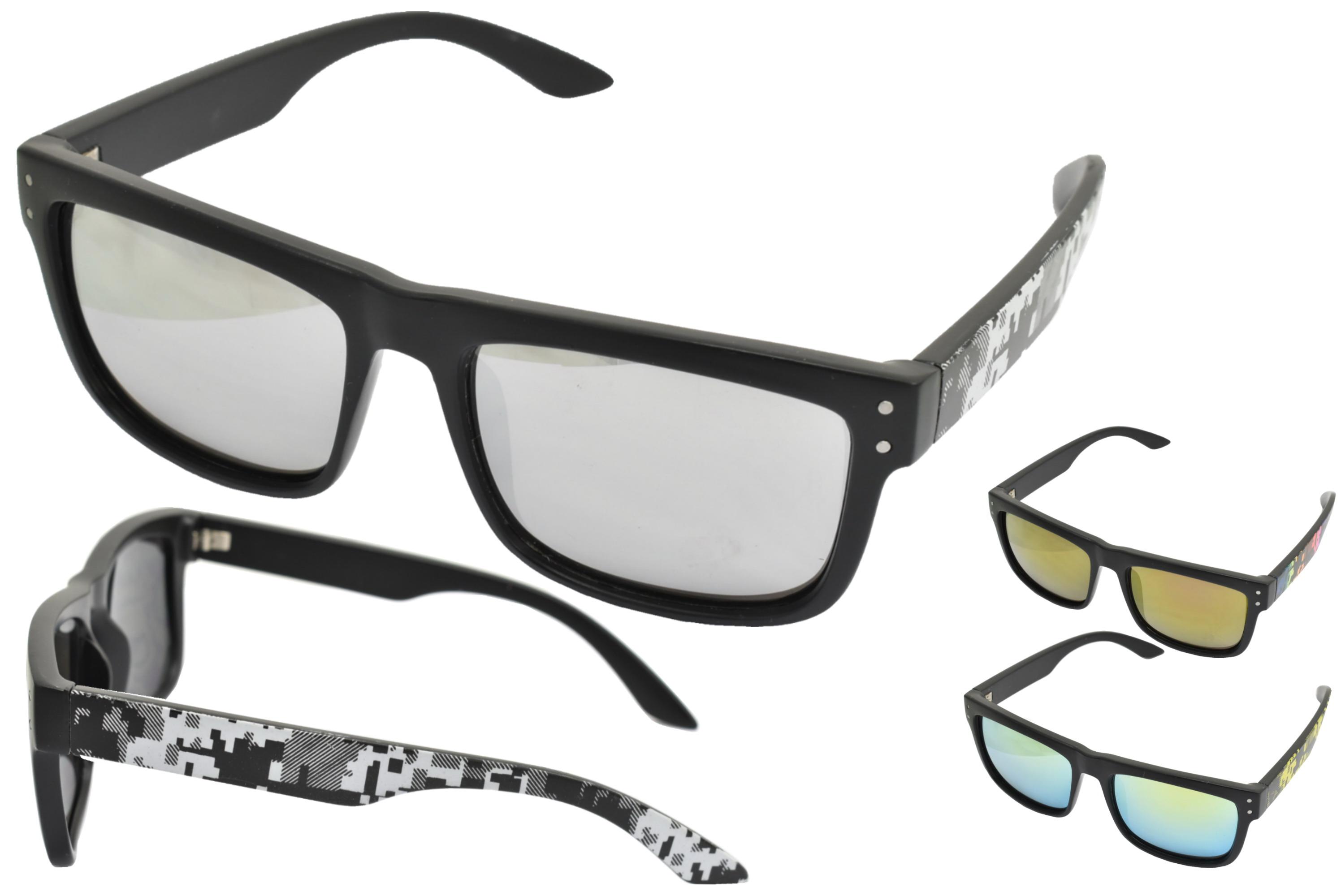 Adults Plastic Matt Finish Large Lense Sunglasses 3 Ast