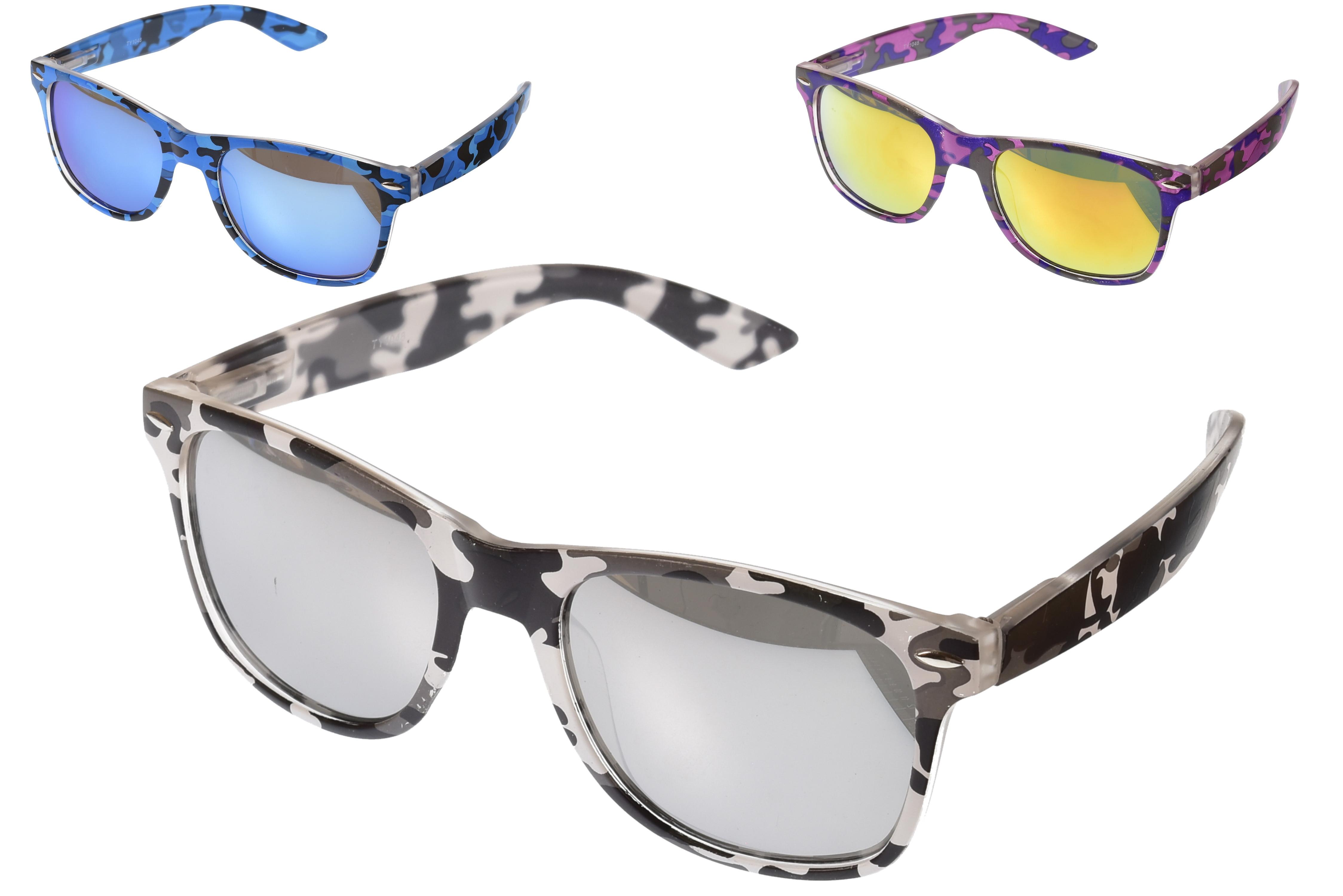 Adults Plastic Camouflage Print Sunglasses (3 Assorted)