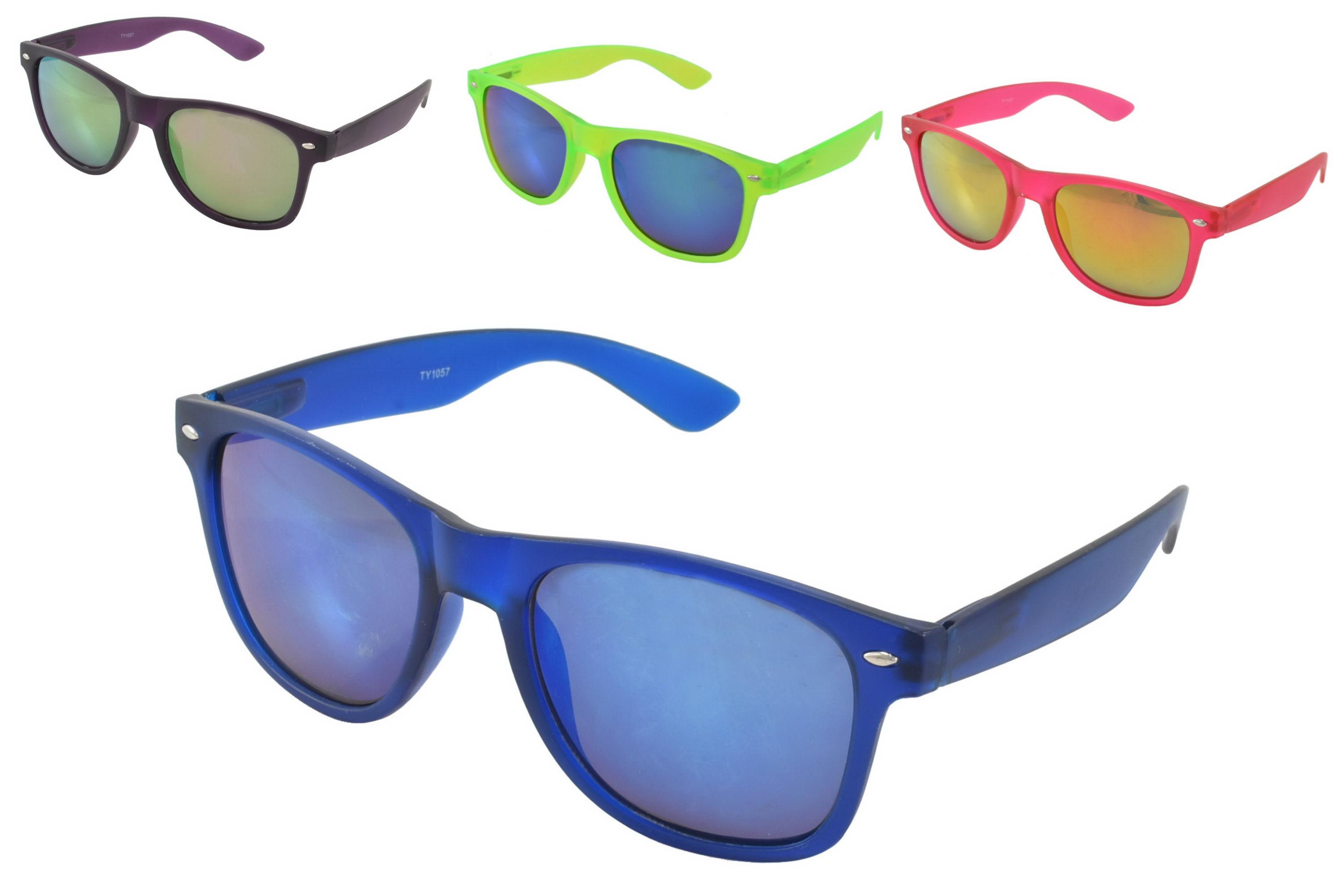 Adults Plastic Transparent Neon Sunglasses (4 Assorted)