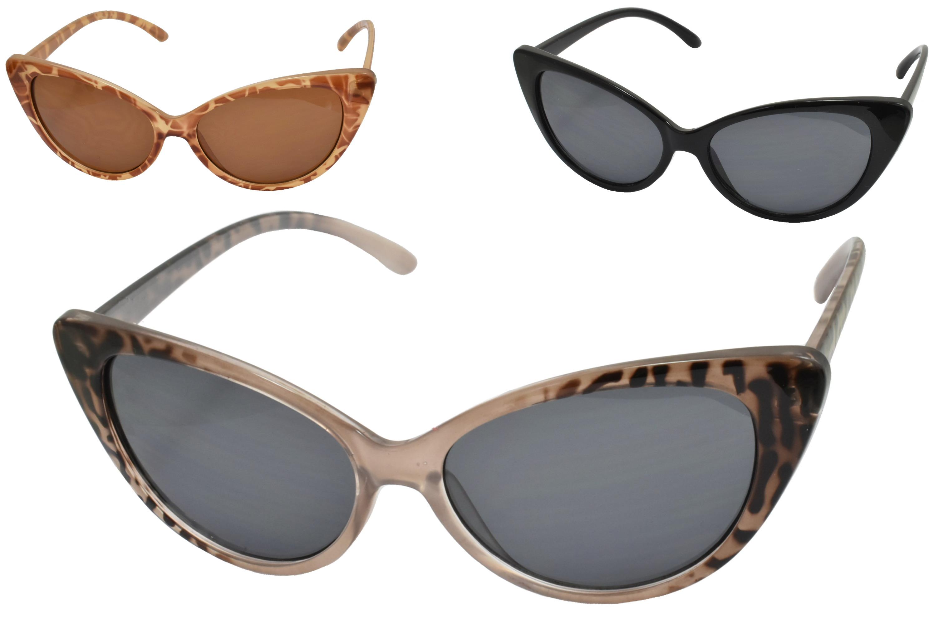 Ladies Plastic Cats Eyes Designer Sunglasses (3 Asst)