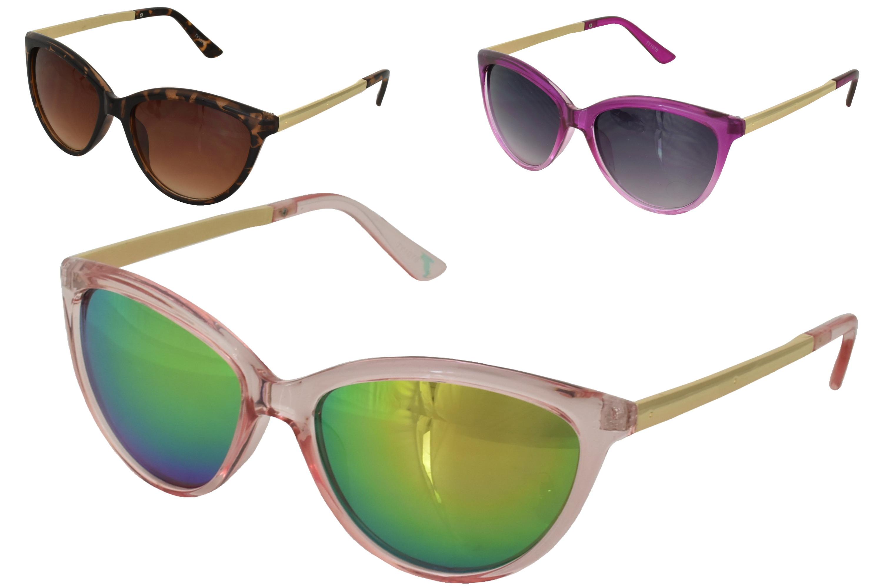 Ladies Plastic Transparent Frame Large Sunglasses 3 Ast