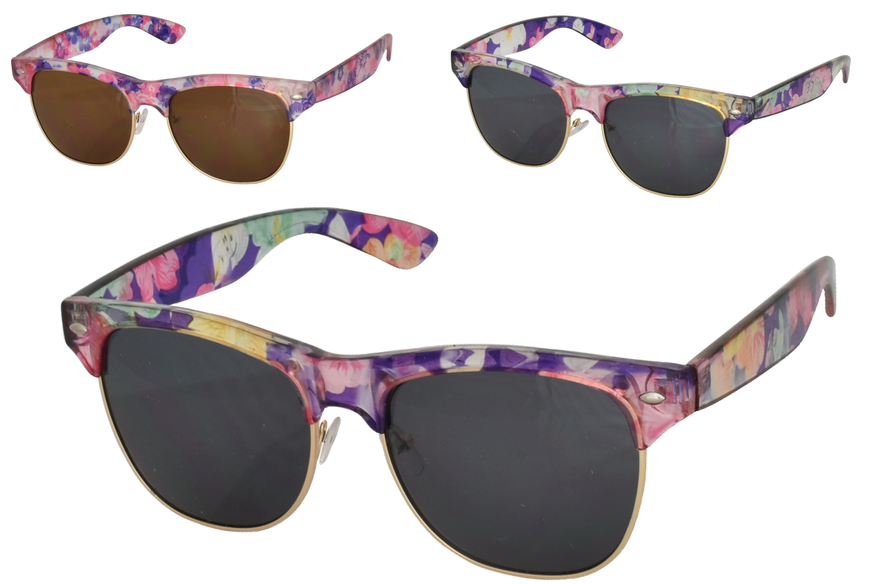 Ladies Metal / Plastic Floral Matt Sunglasses (3 Asst)