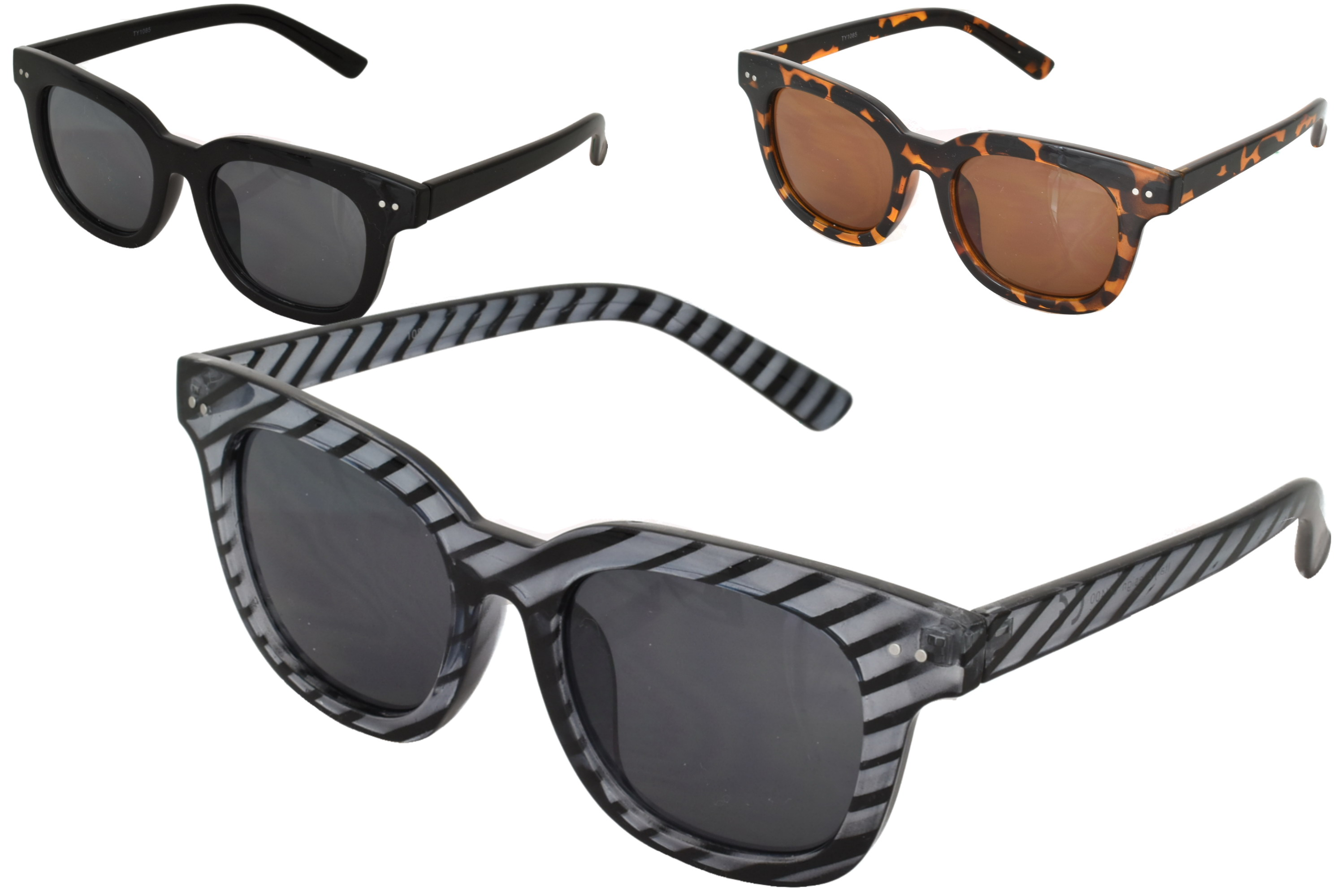 Adults Plastic Thick Frame Designer Sunglasses (3 Asst)