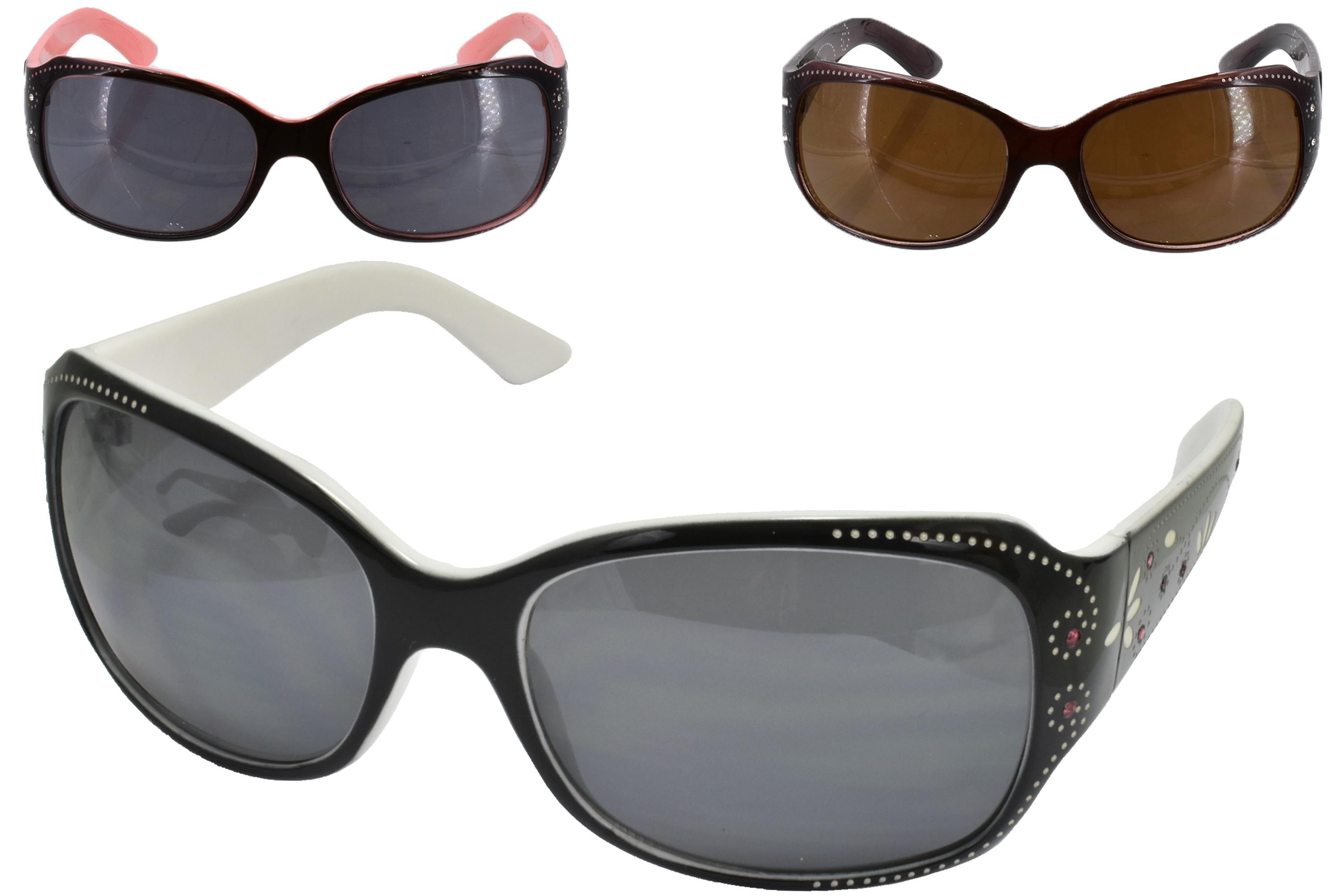 Ladies Plastic Frame Designer Sunglasses (3 Assorted)