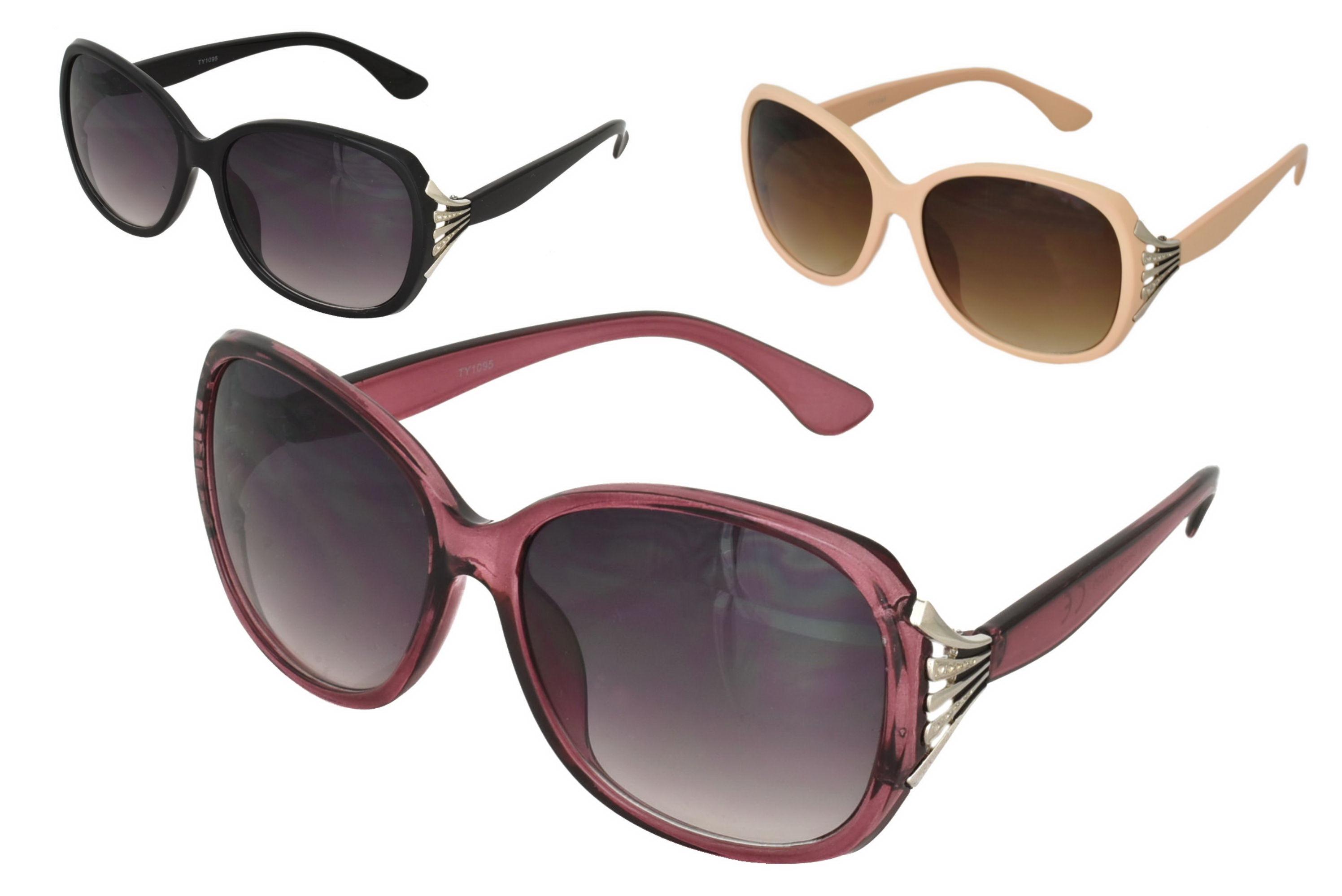 Ladies Plastic Larger Lense Designer Sunglasses 3 Asst