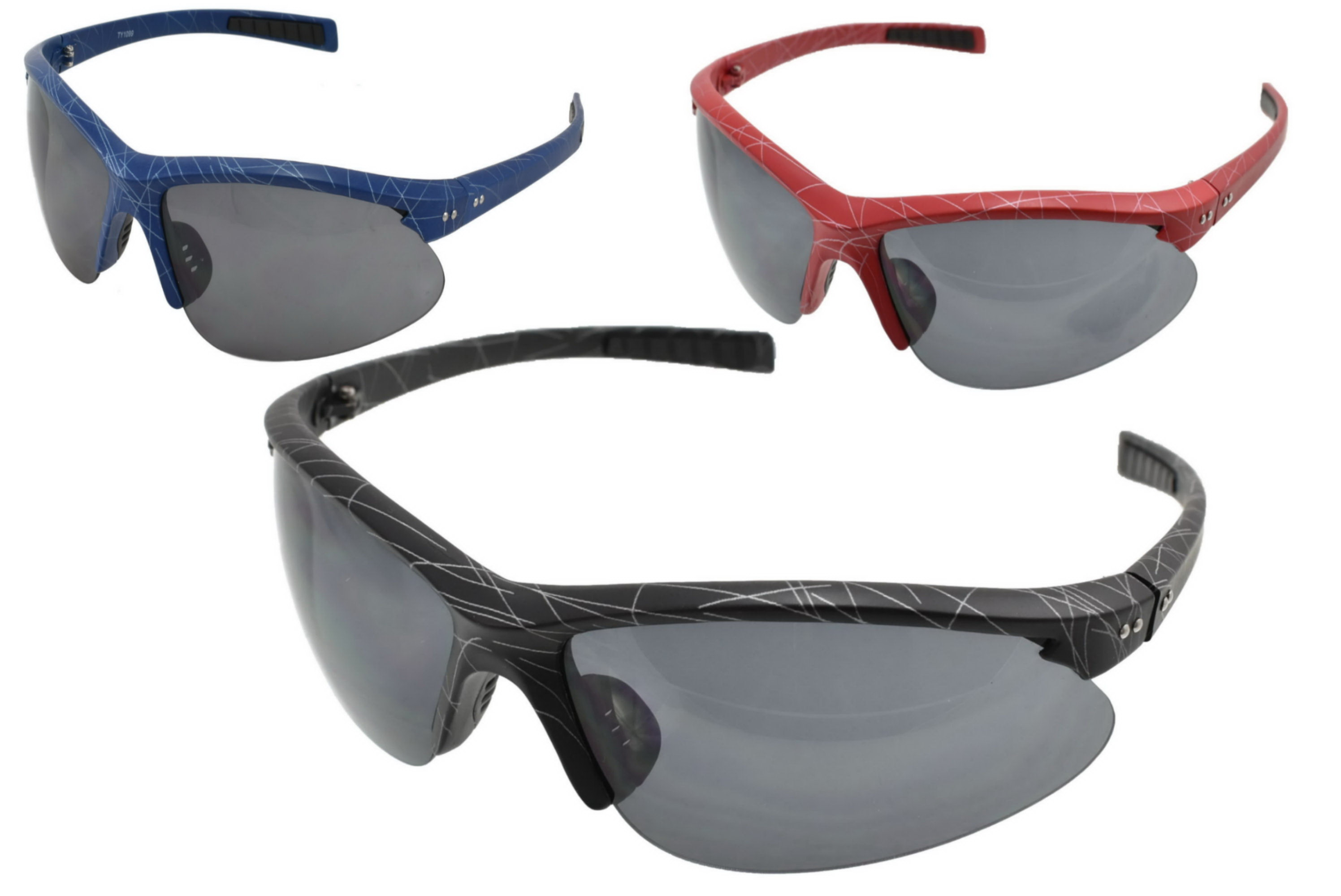 Adults Half Frame Sports Wrap Sunglasses (3 Assorted)