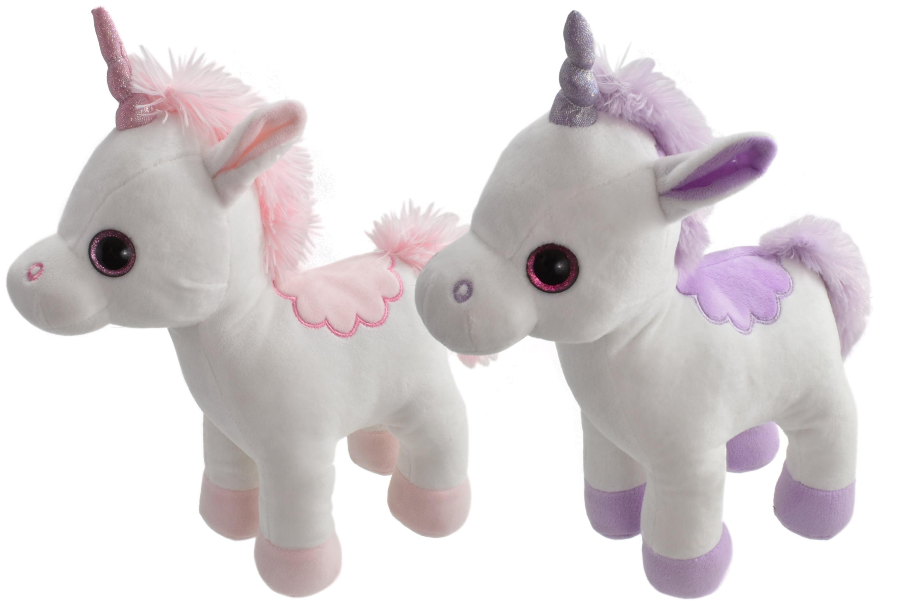 27cm Plush Standing Unicorns With Large Sparkly Eyes