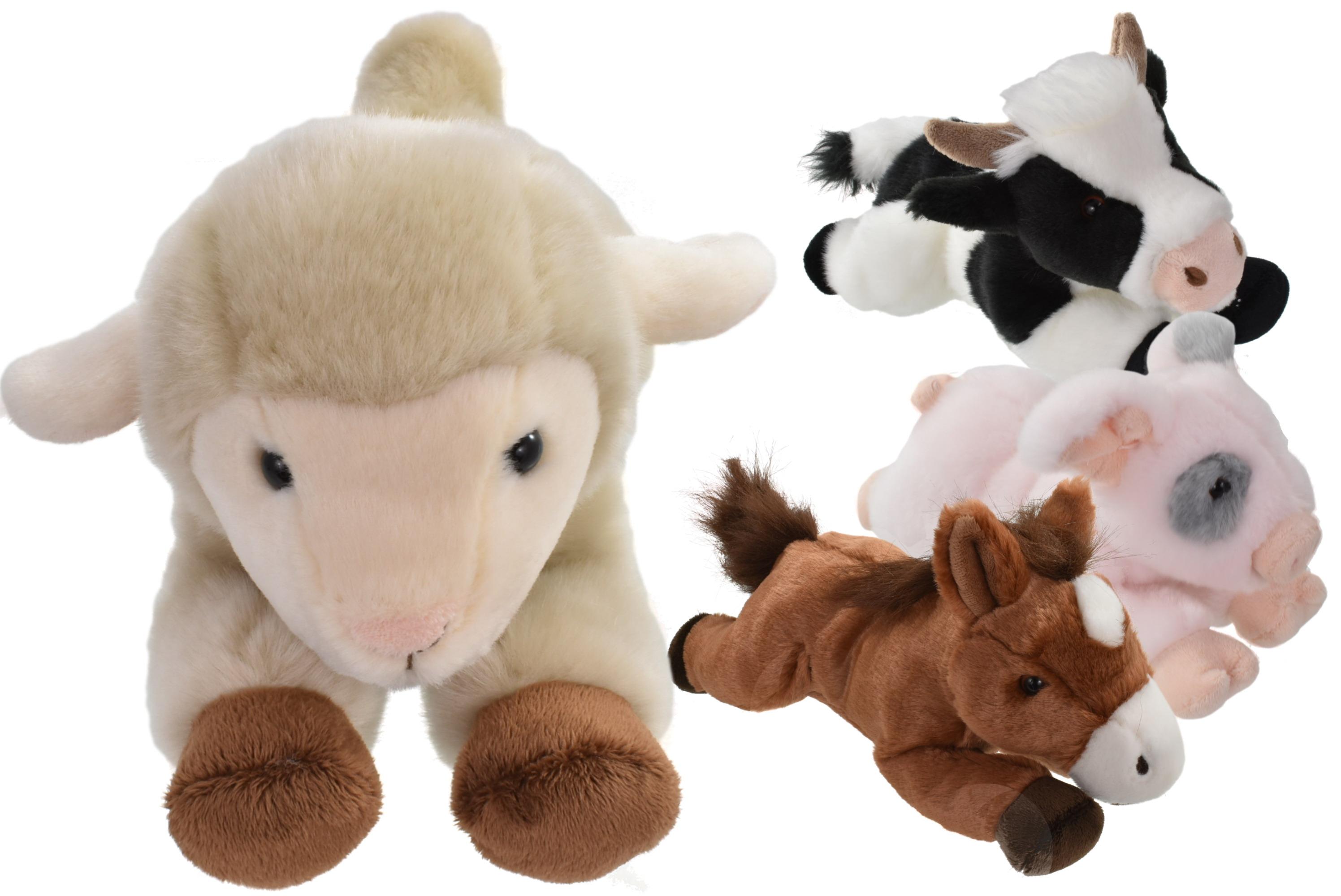 30cm Plush Lying Down Farm Animals - 4 Assorted Colours