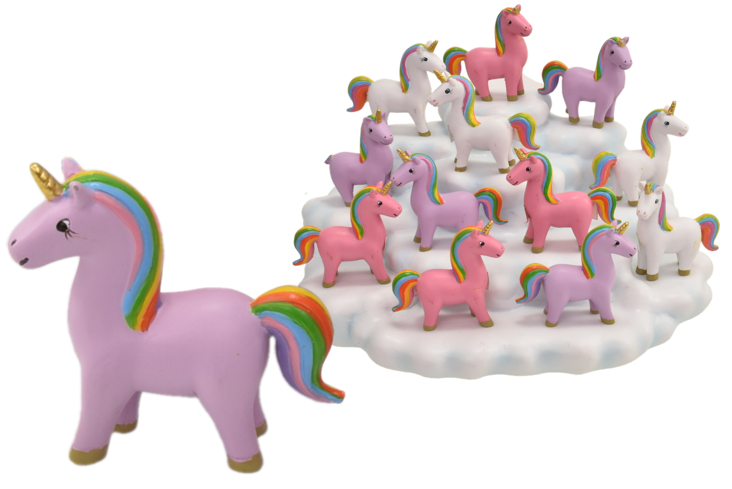 5cm Resin Unicorn On Display Stand Set/12 3 Asst Colour