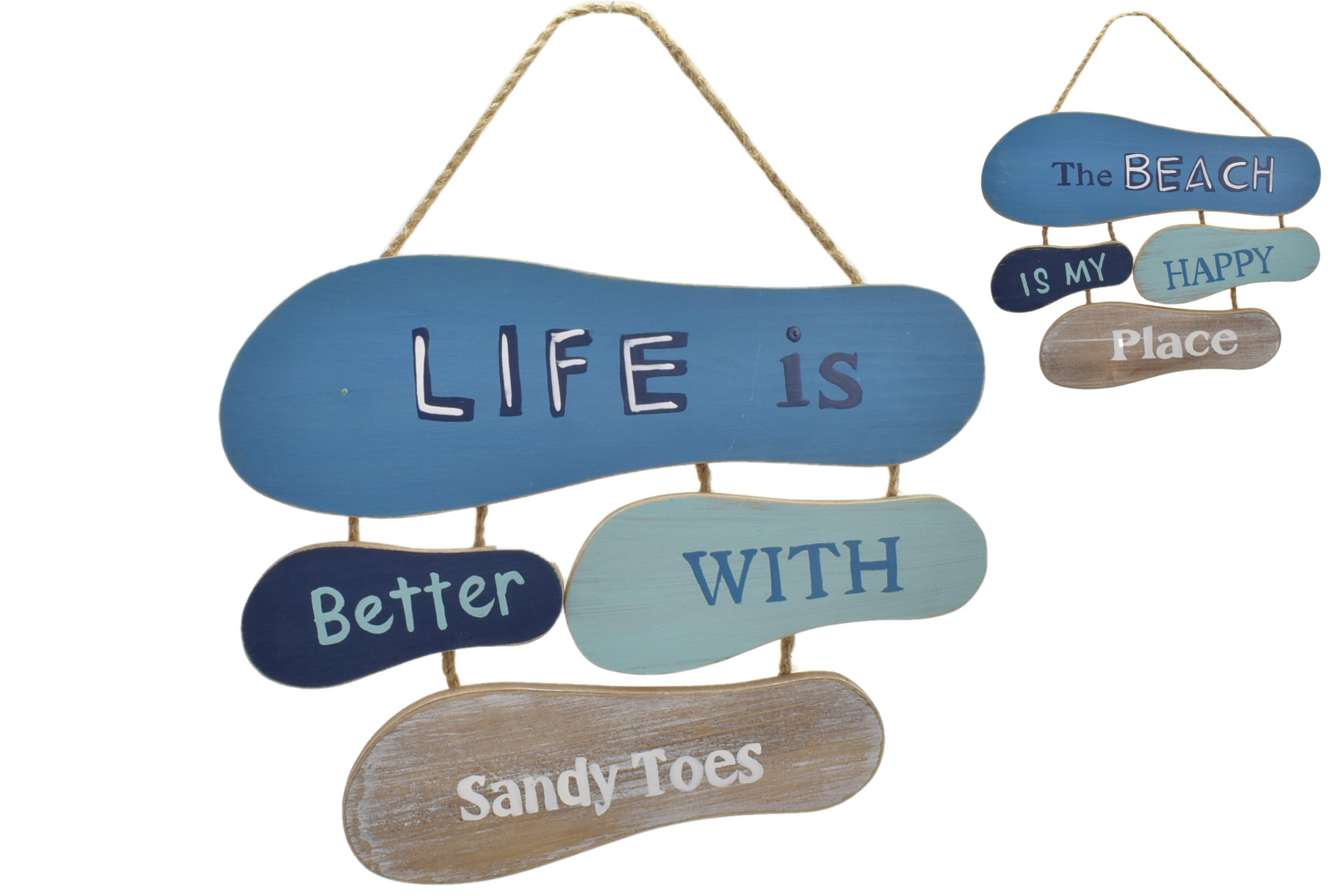 45x32cm 4 Flip Flop Hanging Sign 2 Assorted Designs