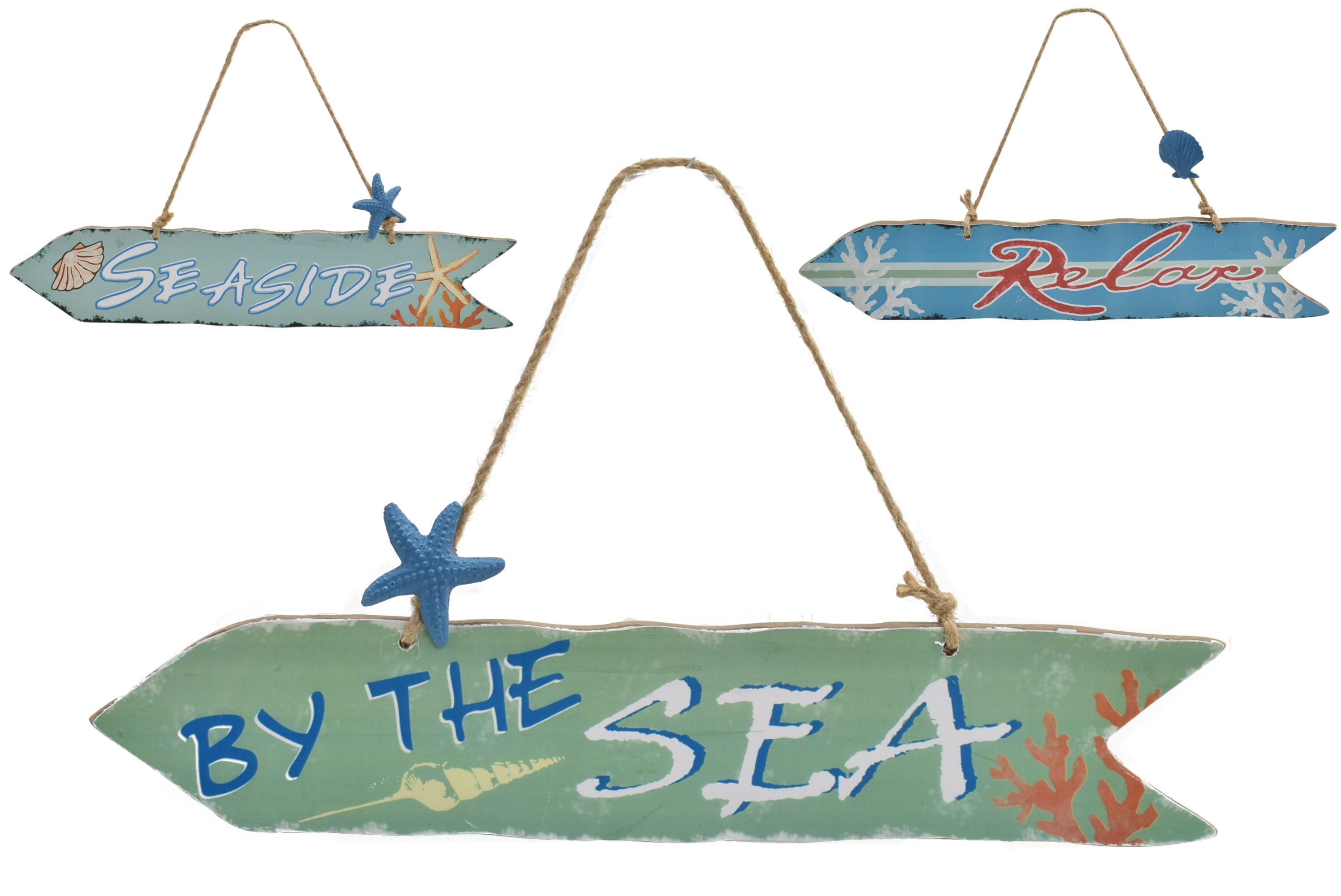 40x8cm Hanging Arrow Sign 3 Assorted Rope & Starfish