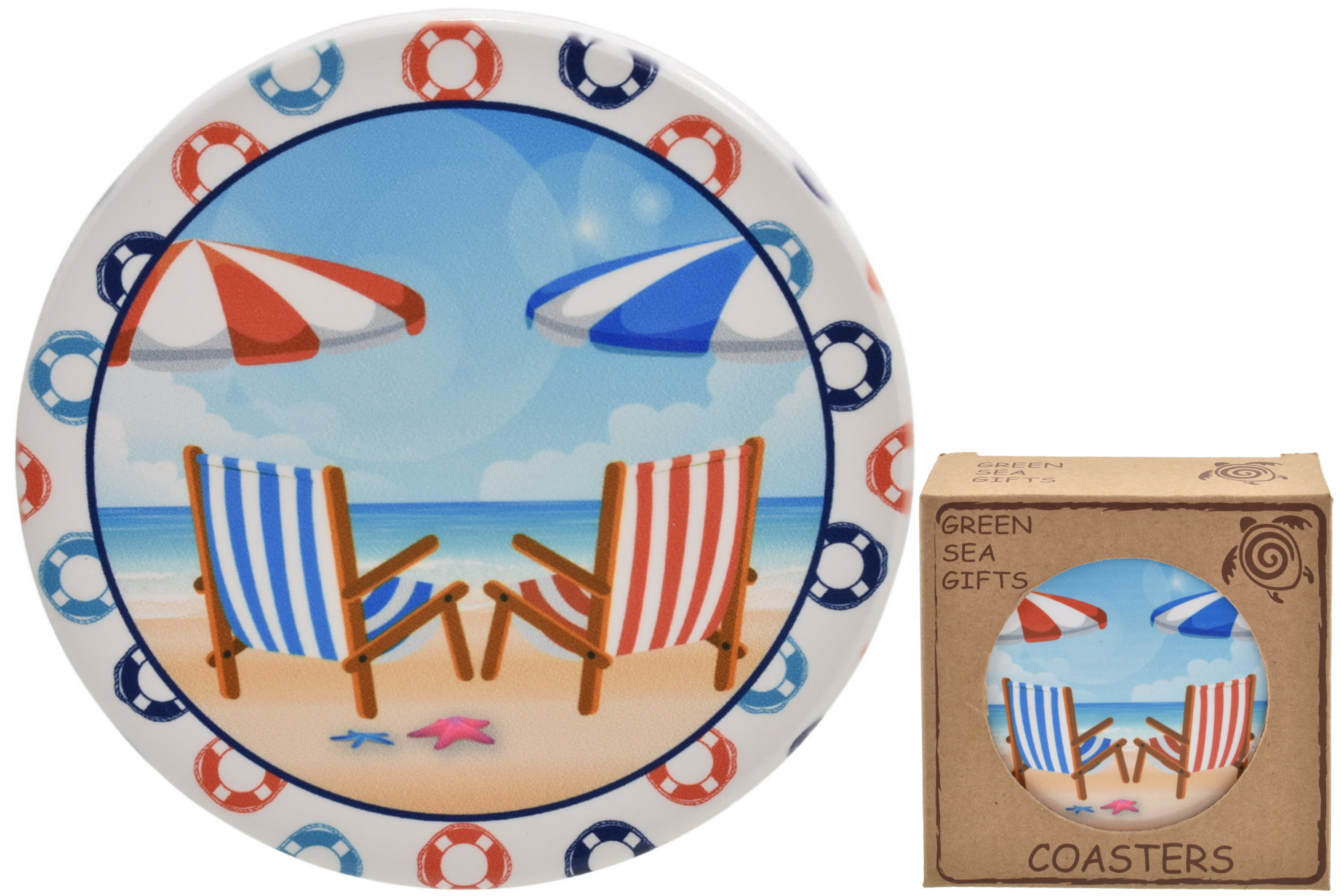 10cm Deck Chairs Design Coaster Set Of 4 In Gift Box