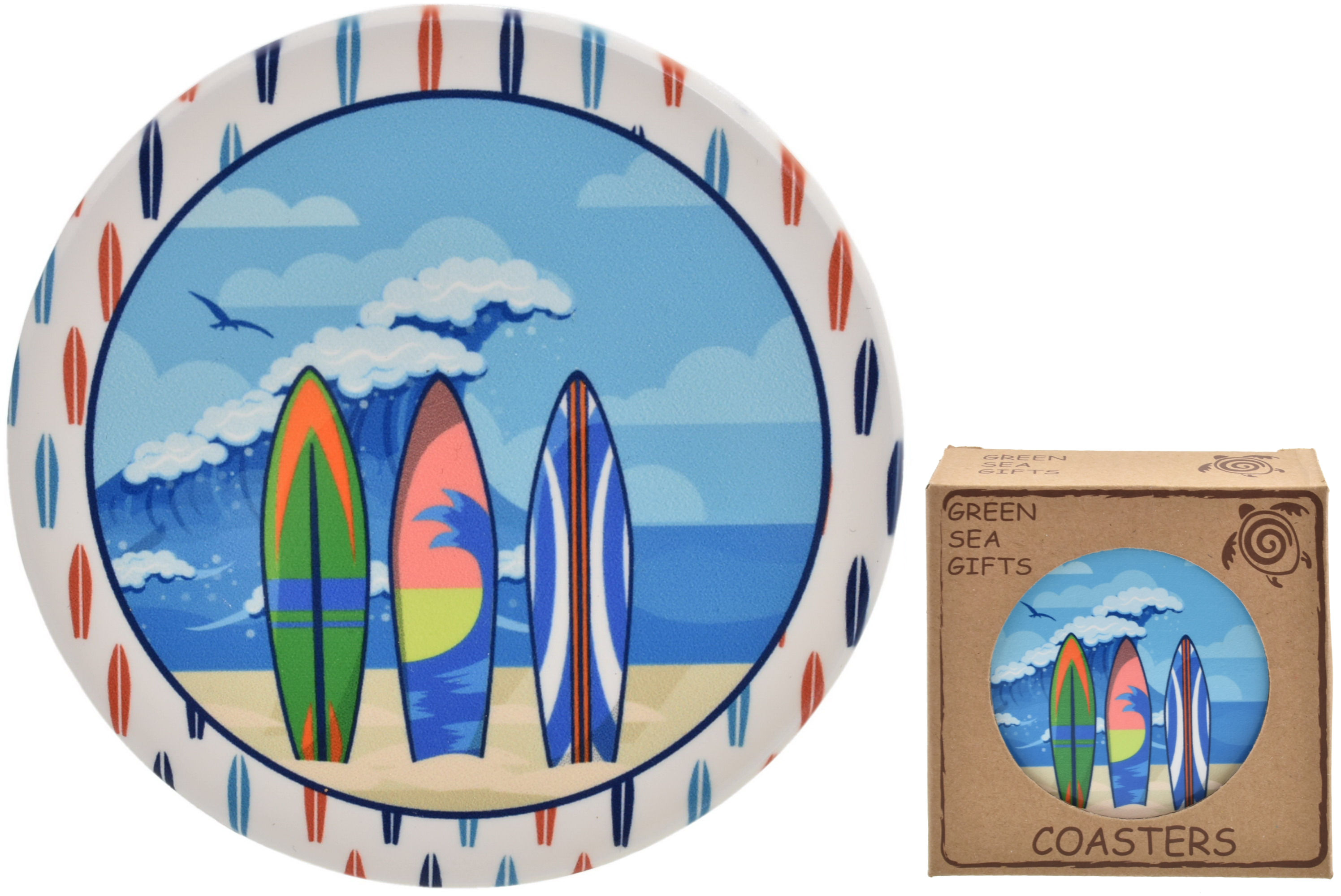 10cm Surfboards Design Coaster Set Of 4 In Gift Box