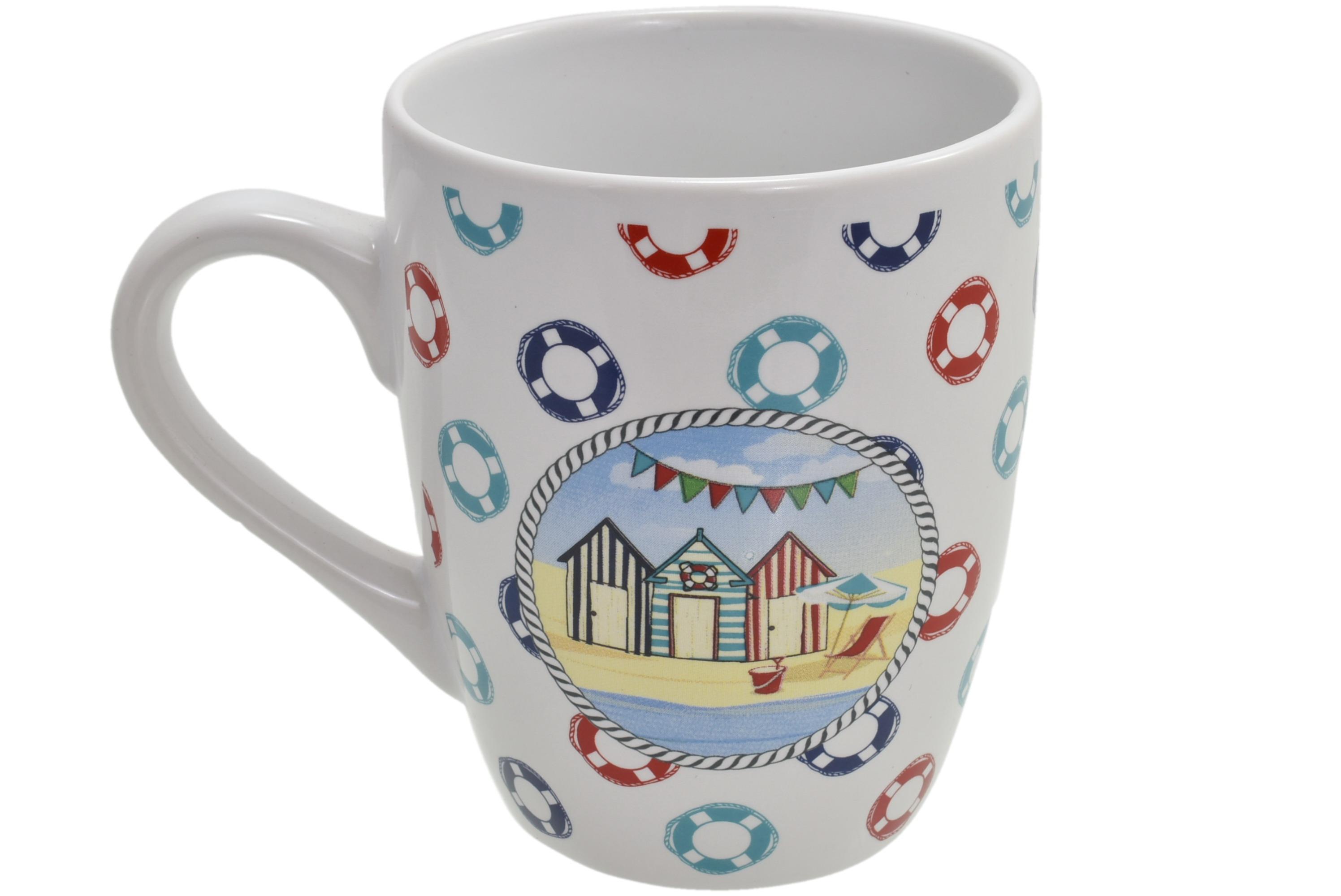 Ceramic Beach Hut Design Mug Lifering Print