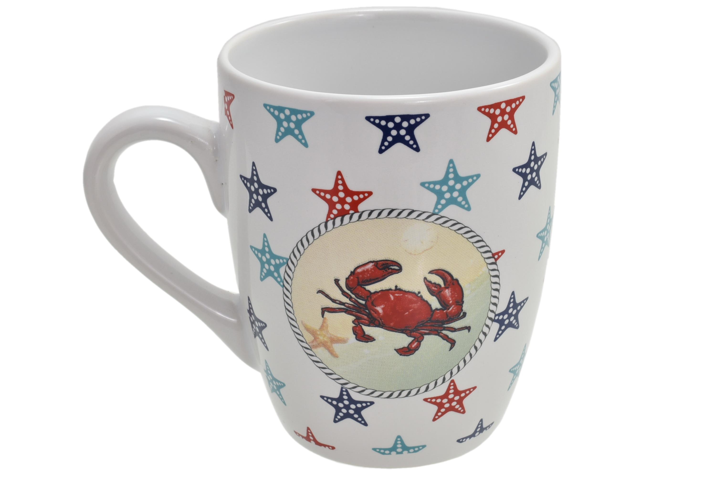 Ceramic Crab Design Mug Starfish Print