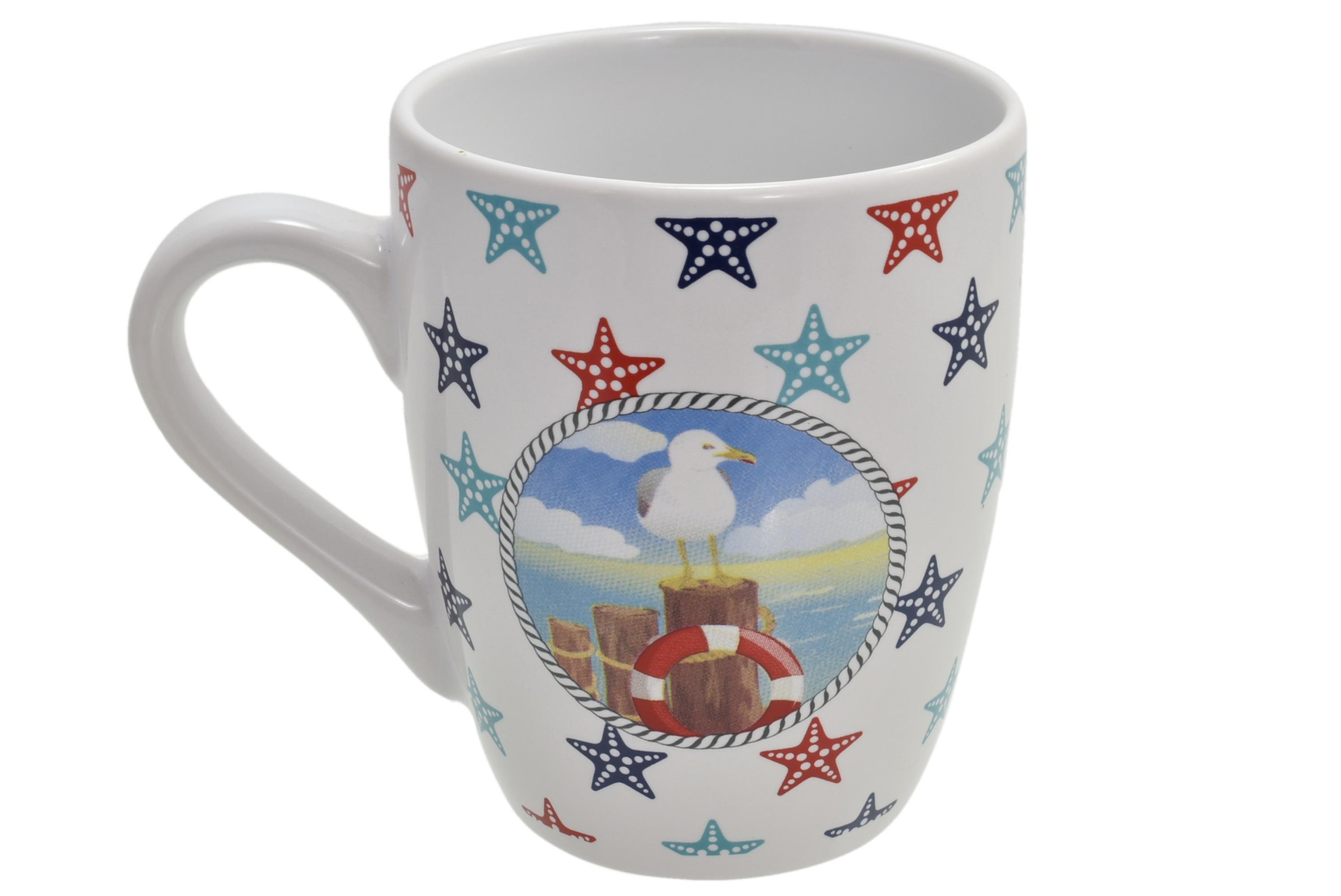 Ceramic Seagull Design Mug Starfish Print