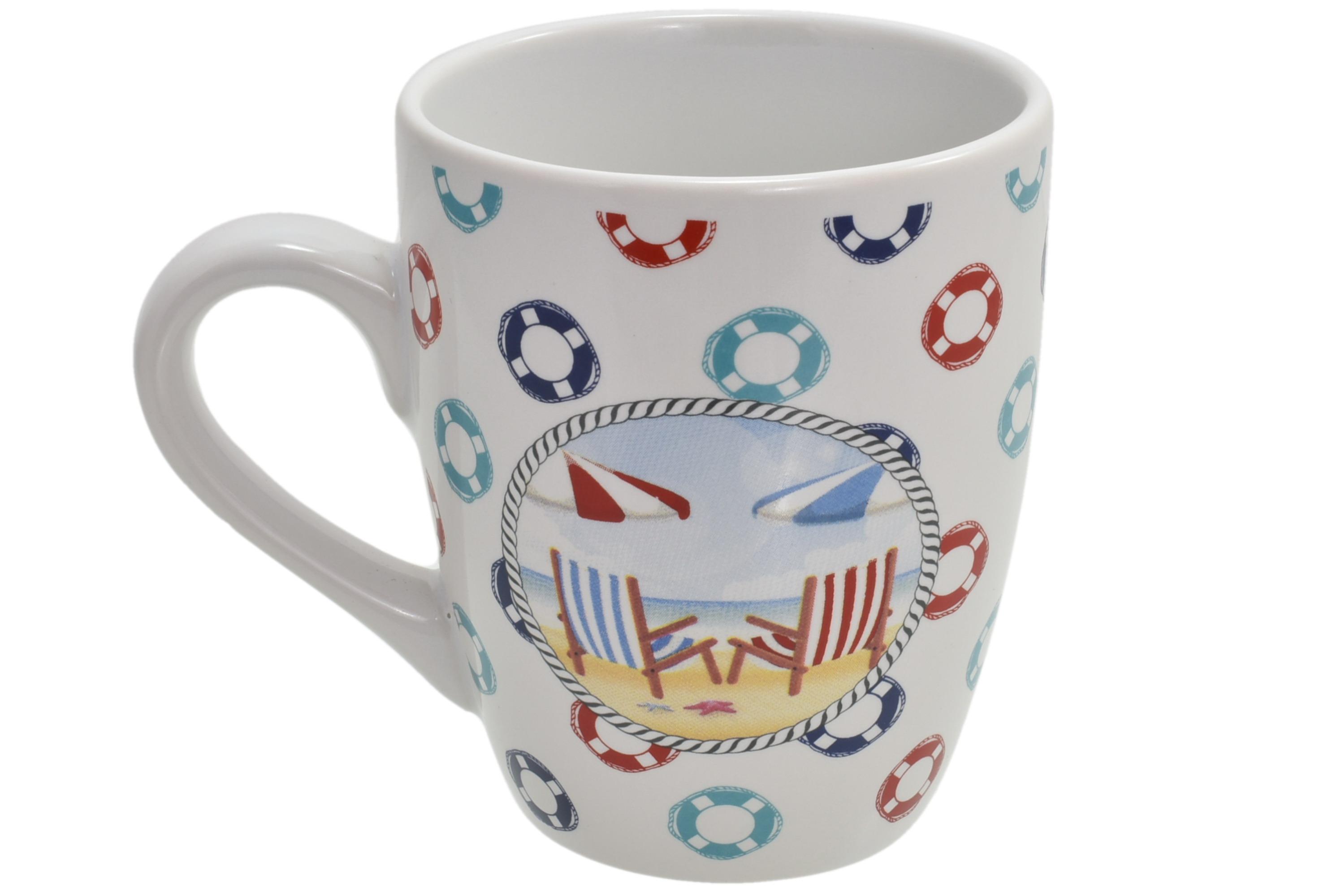 Ceramic Deck Chairs Design Mug Lifering Print