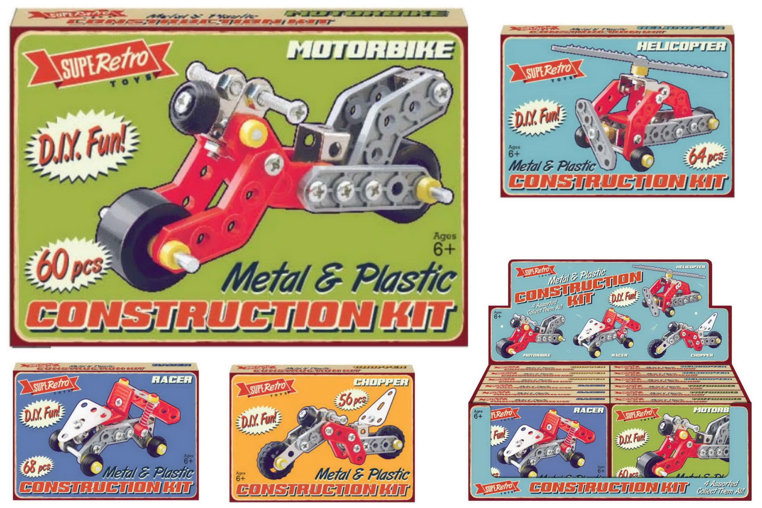 "Metal & Plastic Construction Kit - 4 Asst ""Retro"""
