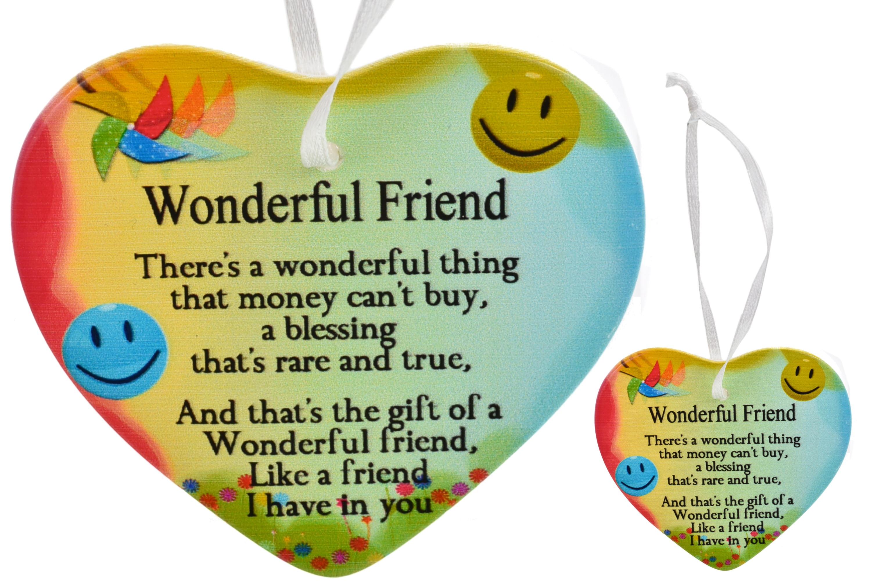 8cm Heart Hanger Sentiments - Wonderful Friend