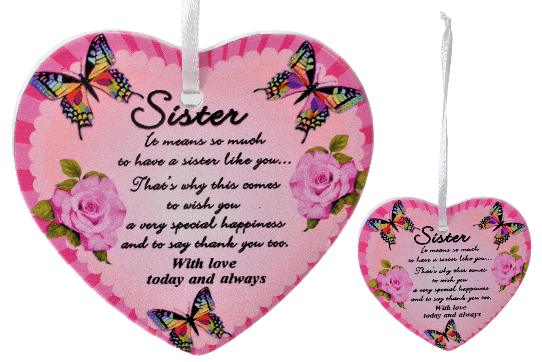 8cm Heart Hanger Sentiments - Sister