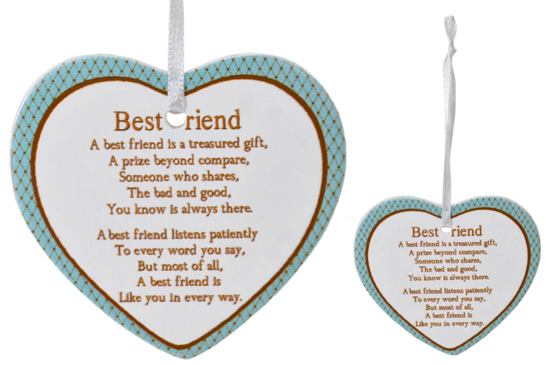 8cm Heart Hanger Sentiments - Best Friend