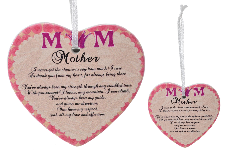 8cm Heart Hanger Sentiments - Mum
