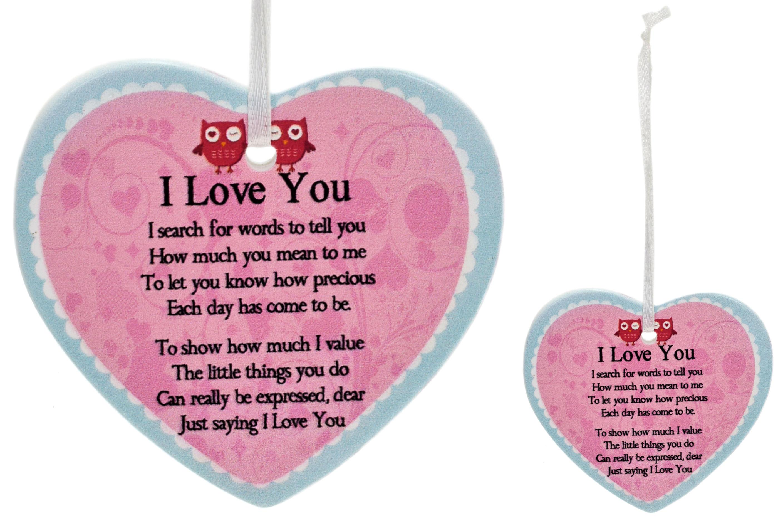 8cm Heart Hanger Sentiments - I Love You