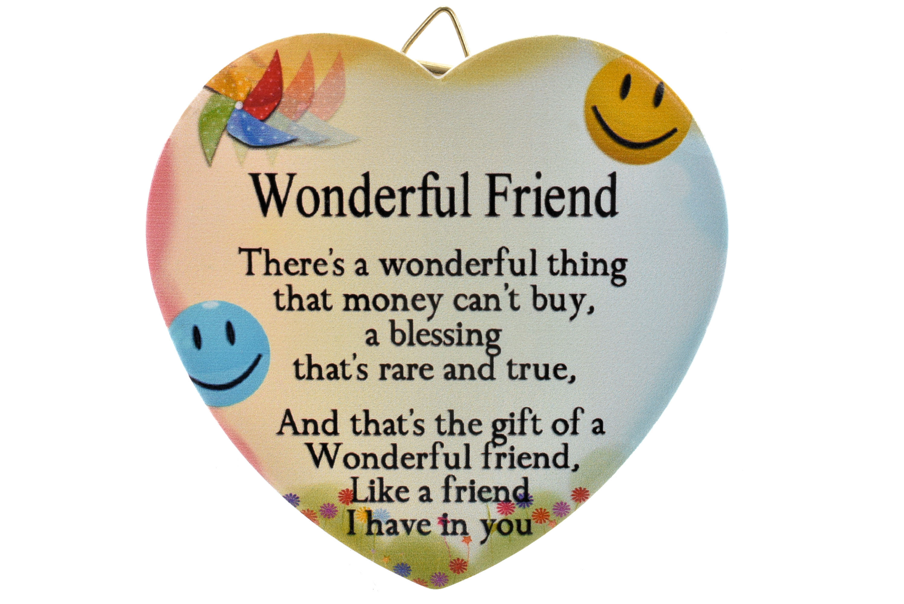 11cm Heart Hanger Sentiments - Wonderful Friend