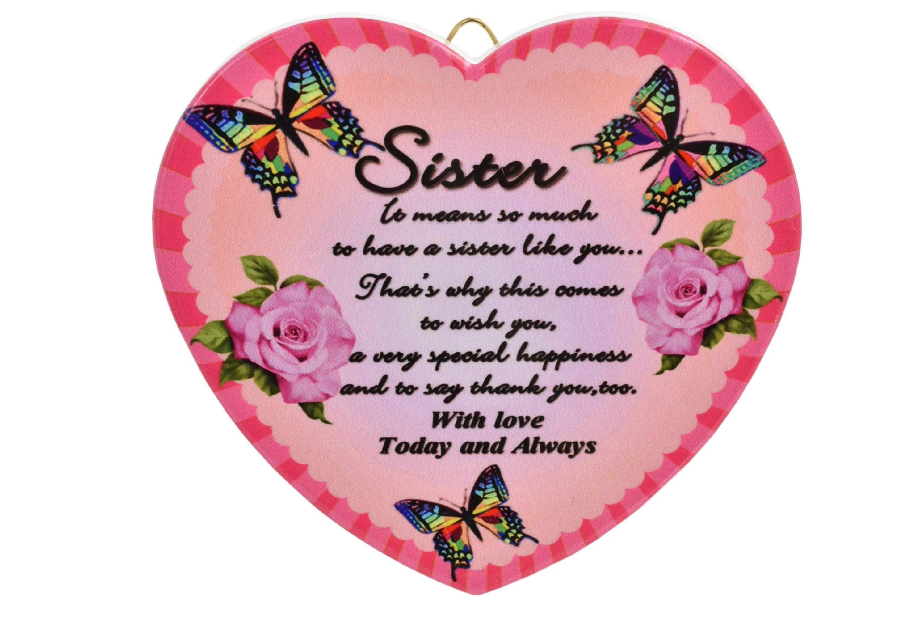 11cm Heart Hanger Sentiments - Sister